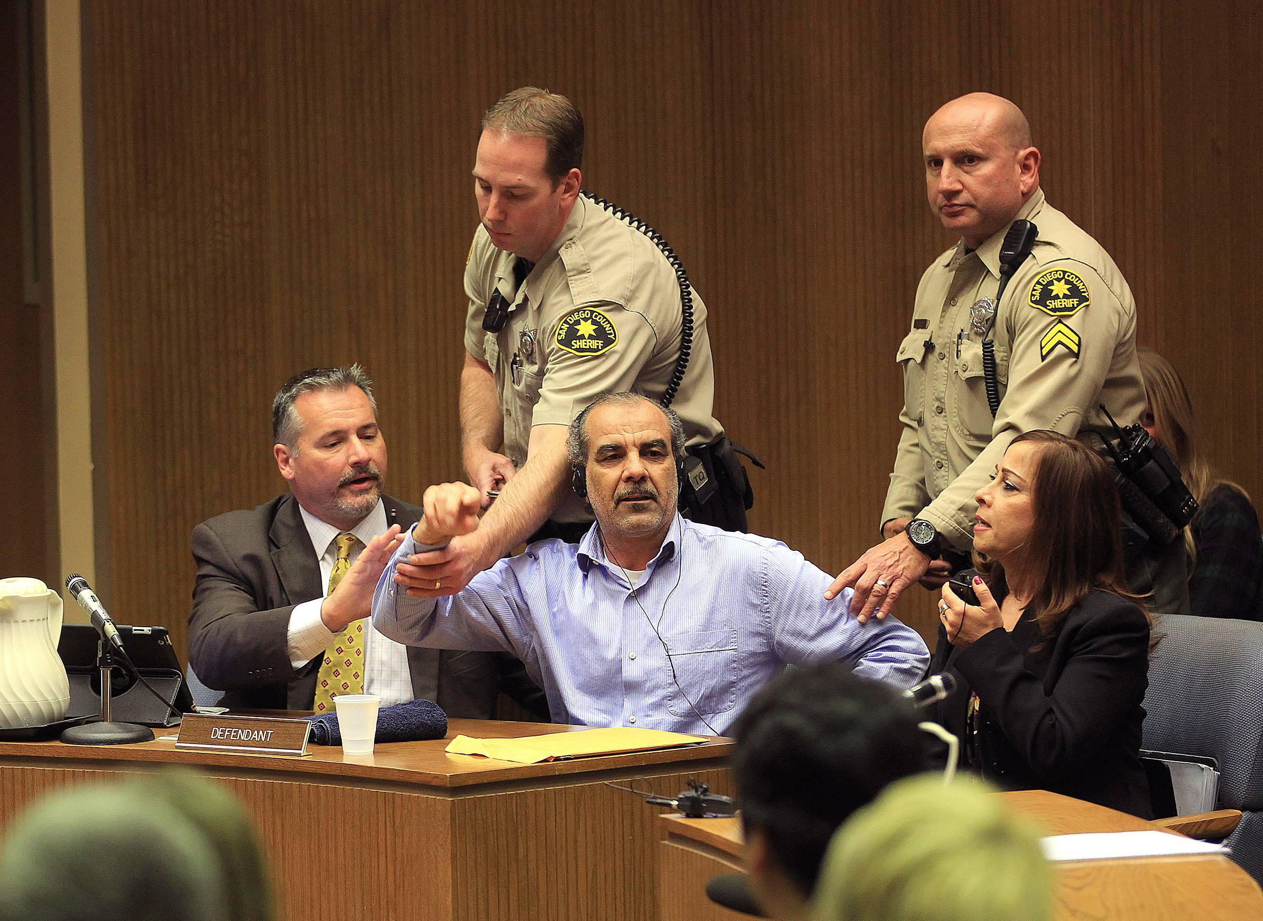 Murder suspect Kassim Alhimidi reacts to being found guilty for the murder of his wife Shaima Alawadi, Thursday April 17, 2014. Alhimidi shook his head as the verdict was read Thursday. He was charged with murdering his 32-year-old wife, Shaima Alawadi, in El Cajon, home to one of the largest enclaves of Iraqi immigrants in the U.S.