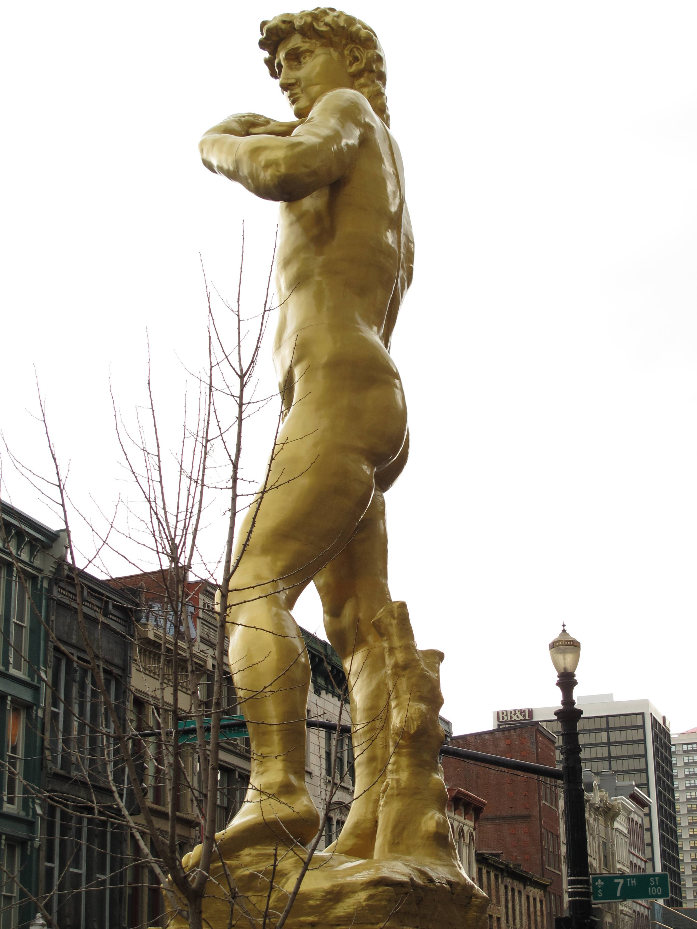 This 37-foot-tall replica of Michelangelo's David stands outside the 21c Museum Hotel, which showcases contemporary art in 9,000 square feet of exhibition space in downtown Louisville, Ky. The David replica was created by a Turkish artist and is made of steel and fiberglass and was painted gold.
