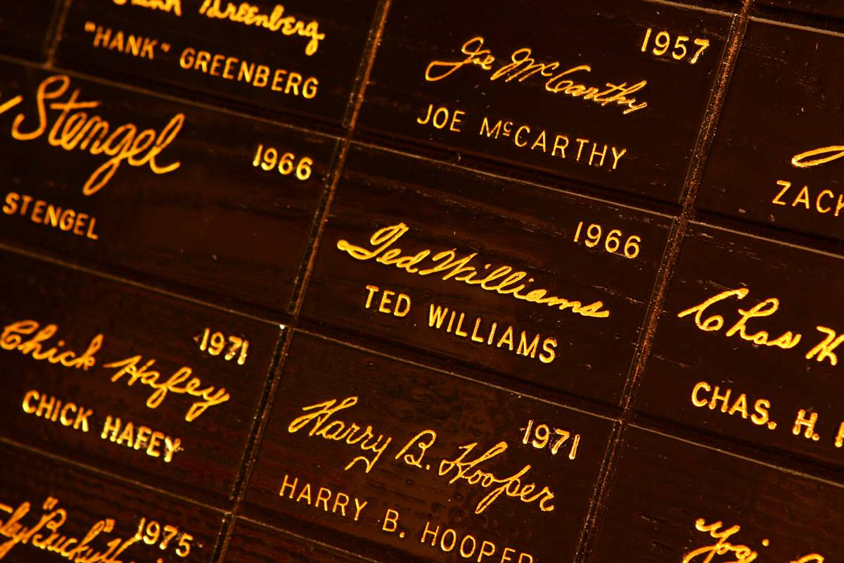 See the signature of Boston Red Sox player Ted Williams, center, on the signature wall at the Louisville Slugger Museum & Factory in Louisville, Ky.