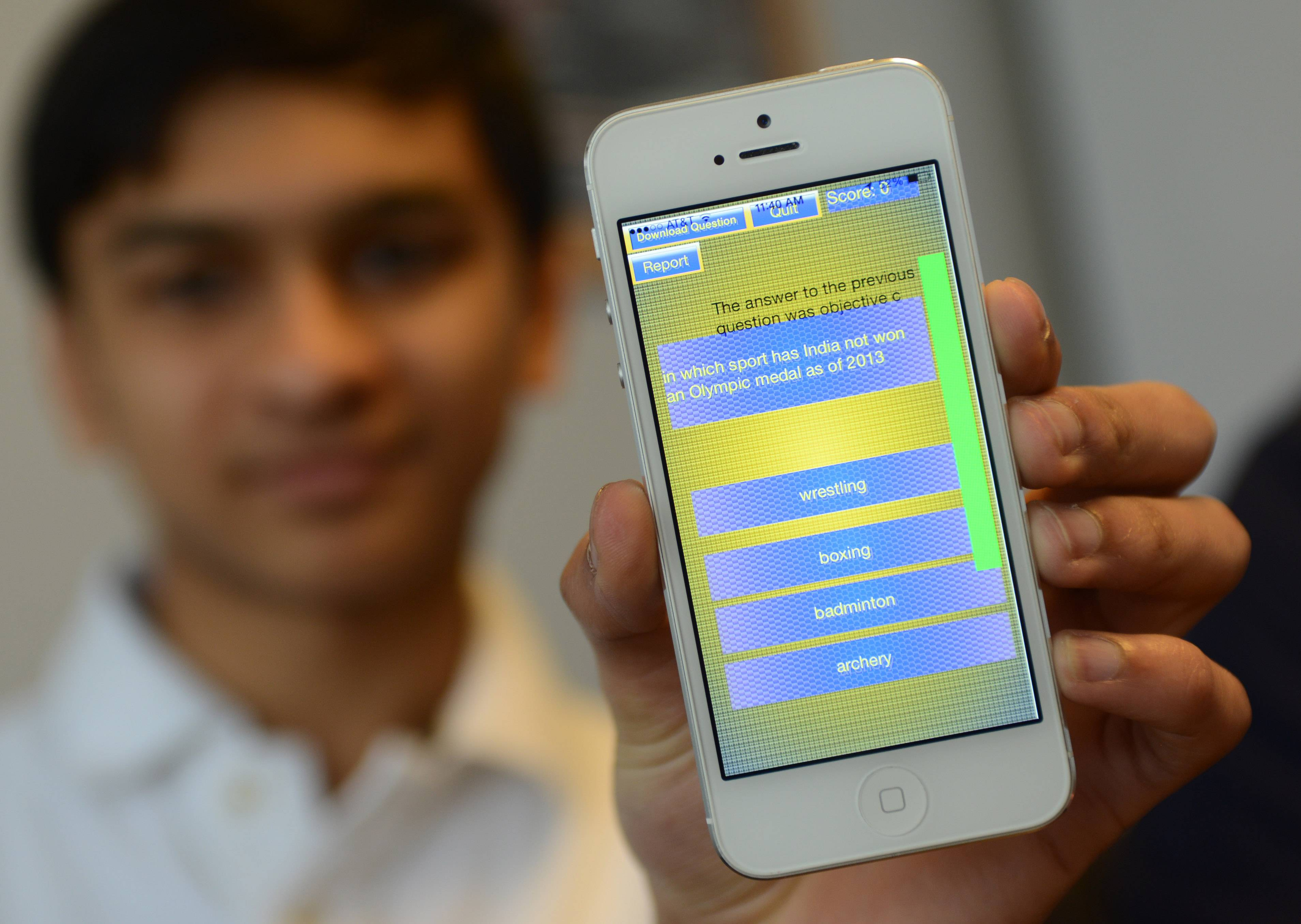 Hawthorn Middle School North eighth-grade student Anmol Parande of Vernon Hills developed a trivia app called InstaQuiz.