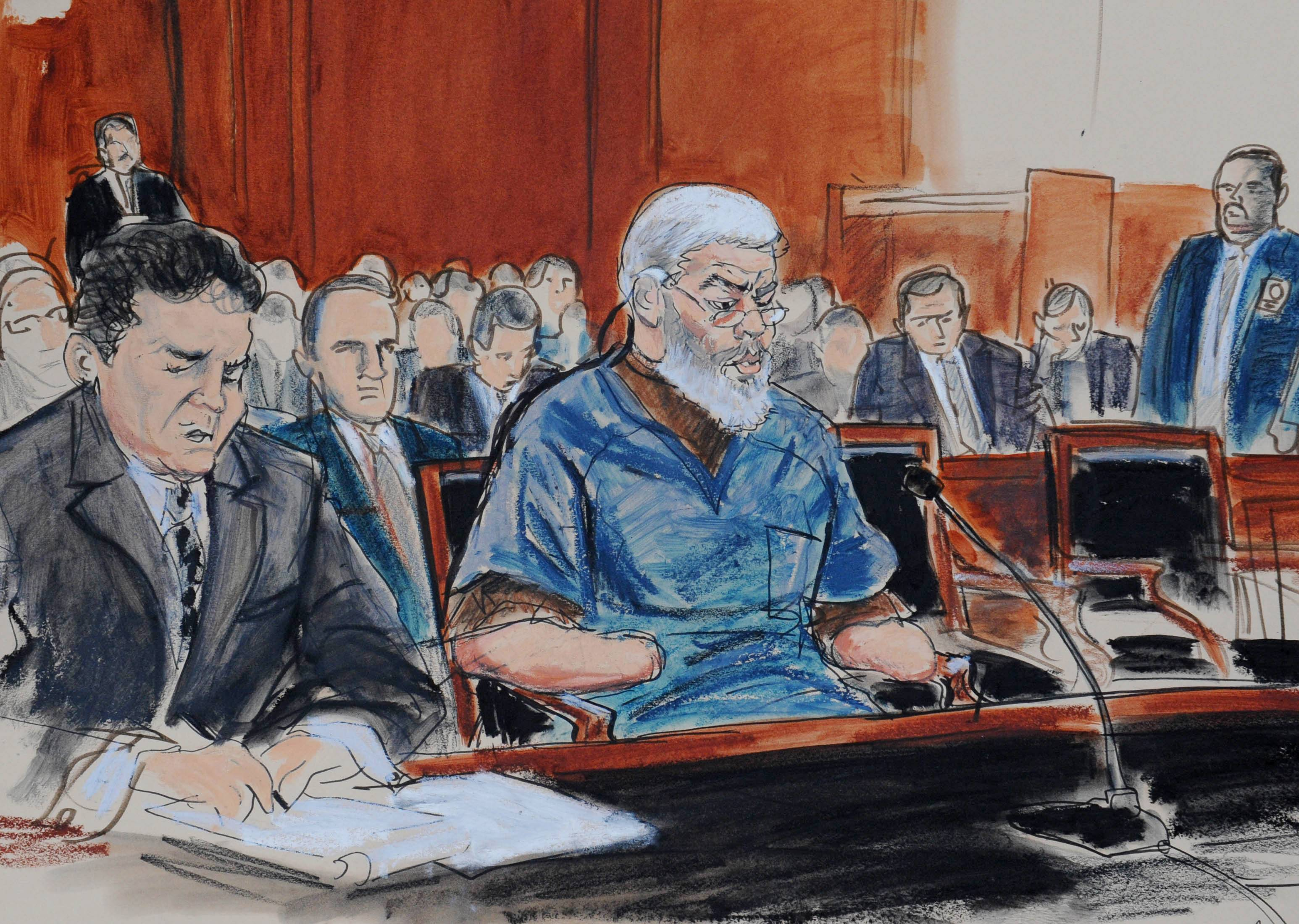 Opening arguments in Mustafa Kamel Mustafa's terrorism trial began in New York on Thursday, April 17, 2014. Federal prosecutors accused Mustafa of training and aiding terrorists in the 1990s while hiding in plain sight as the leader of a London mosque, while Mustafa's attorney told jurors his client had never harmed Americans and did not participate in any of the acts charged in the case.