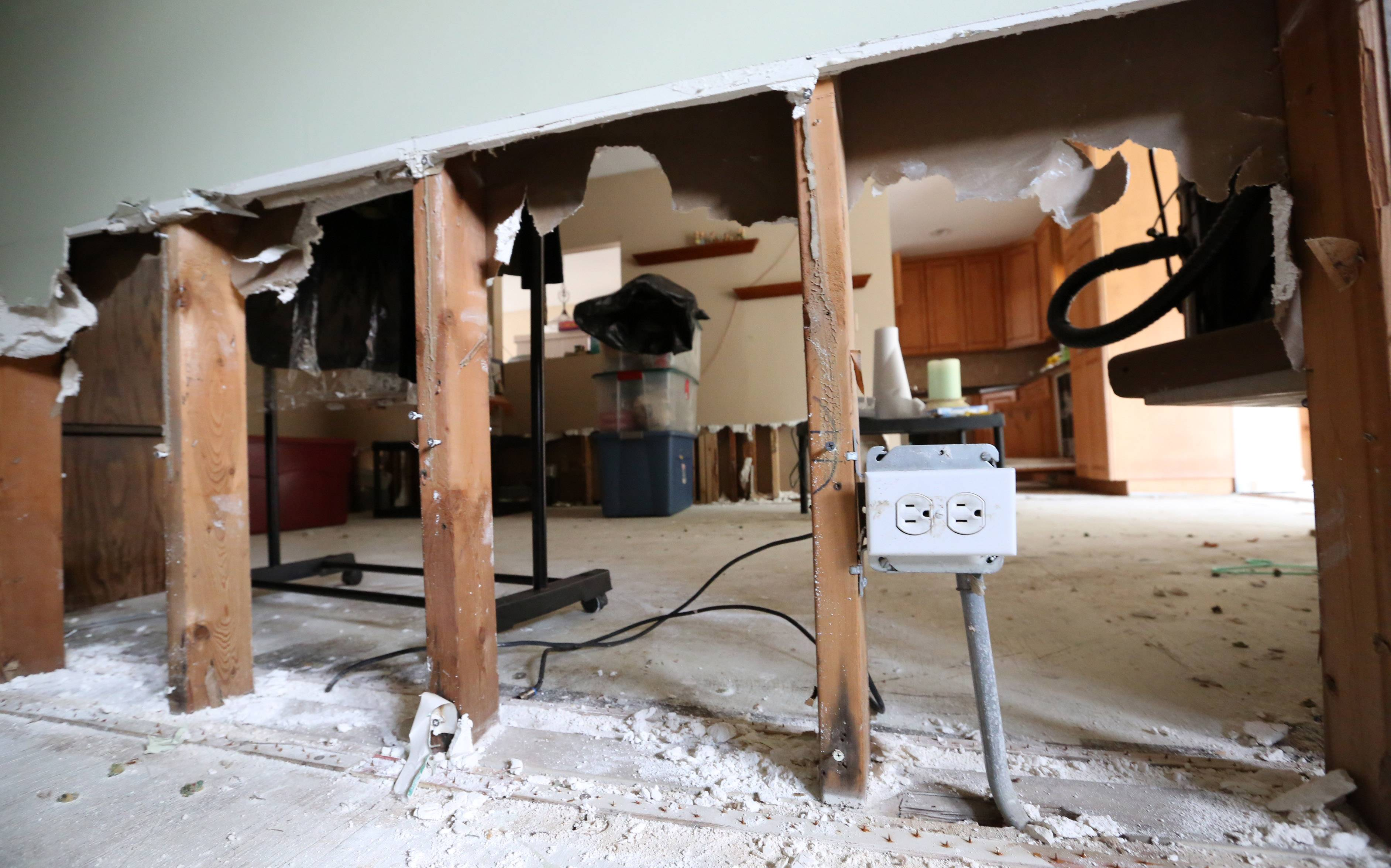 Almost three feet of drywall has been removed from all the rooms in Heather and Matthew Roppel's home in Des Plaines as a result of April 2013 floods.