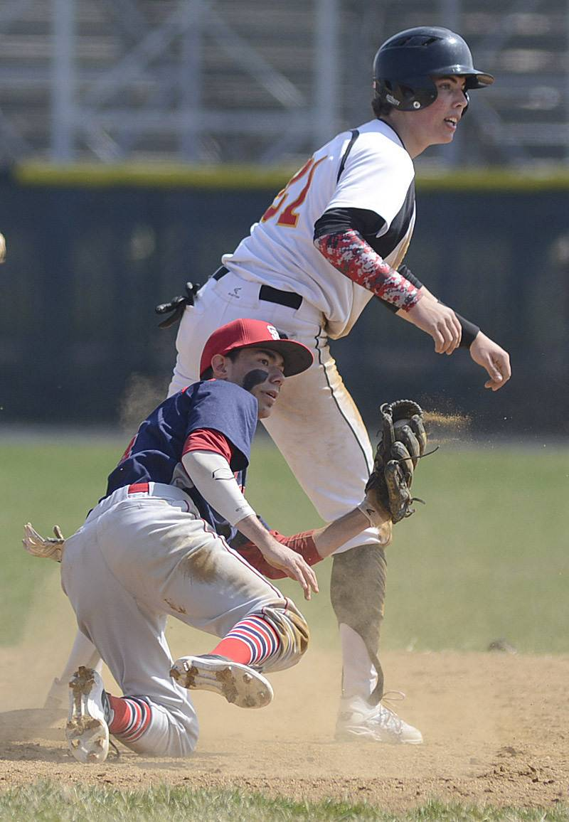 Batavia's Jeremy Schoessling is out at second base Friday.