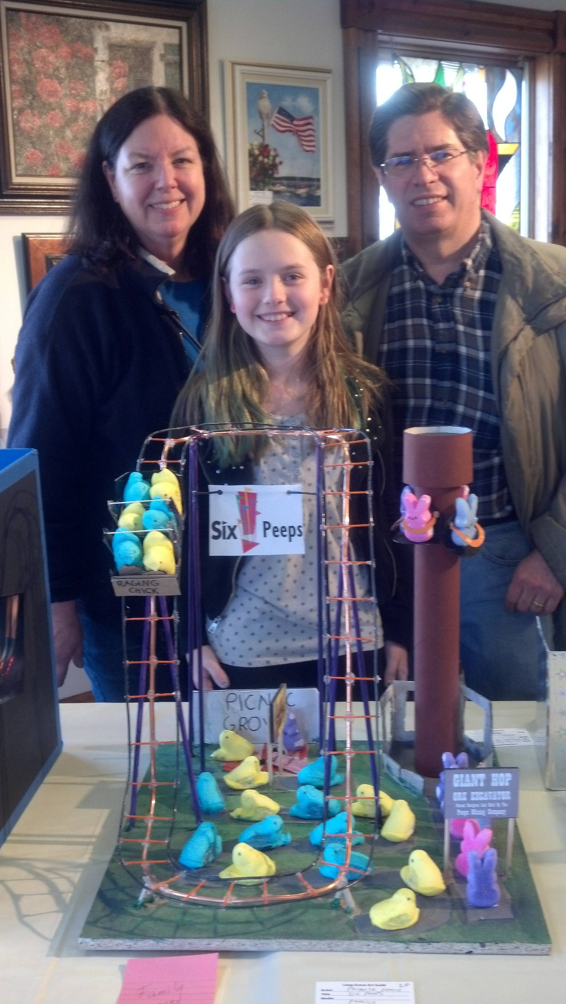 "Jane, Teressa and Doug Primack of Long Grove with family ""Six Peeps"" entry."