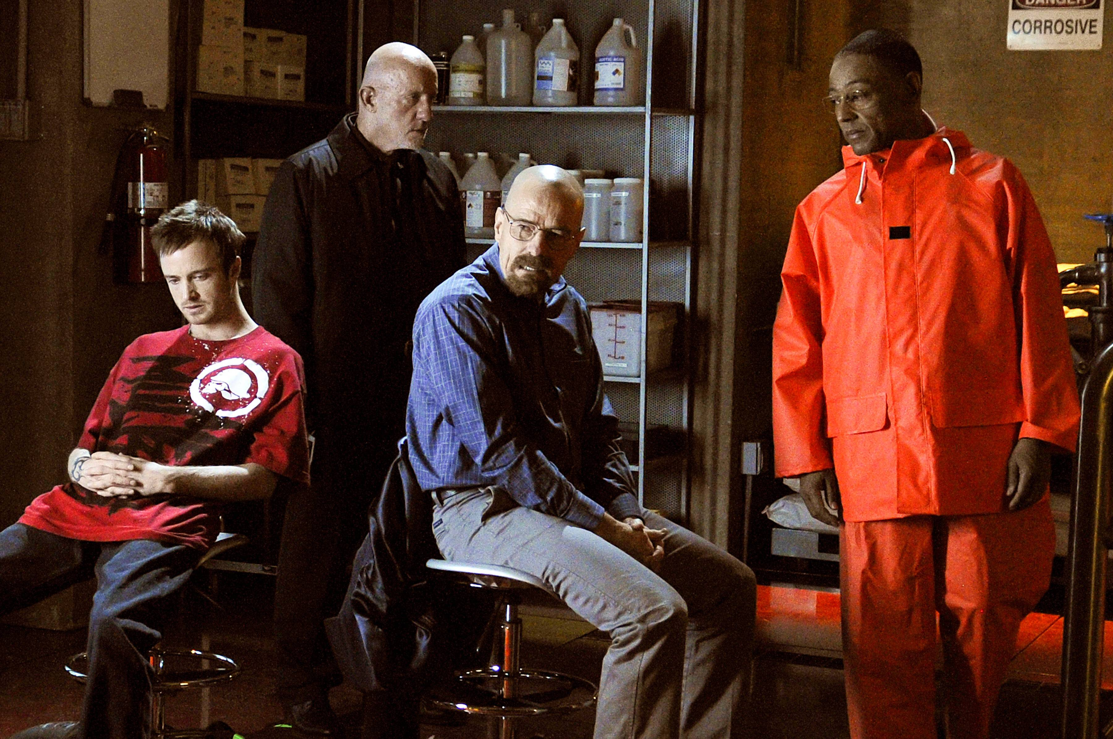 "Gustavo ""Gus"" Fring (Giancarlo Esposito), right, shocked Jesse Pinkman (Aaron Paul), Mike Ehrmantrout (Jonathan Banks) and Walter White (Bryan Cranston) with what he did with a box cutter in this episode of ""Breaking Bad."" Gus would be the shocked one just a few episodes later."