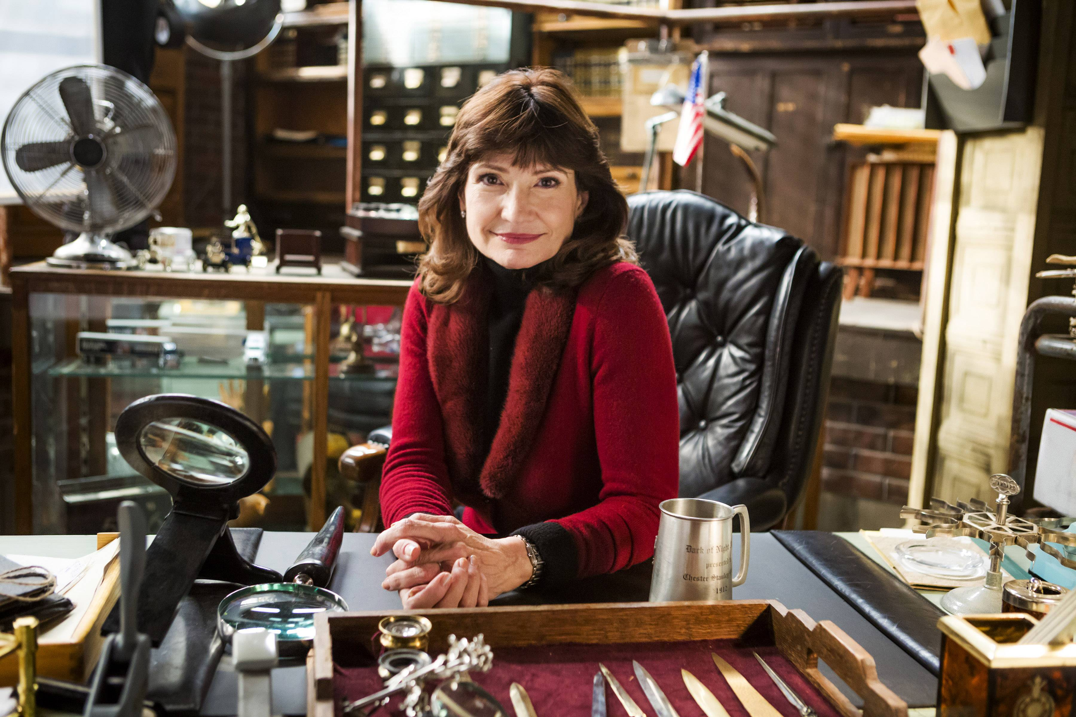 "This photo provided by Hallmark Channel shows creator Martha Williamson on the set of the TV series, ""Signed, Sealed, Delivered.""  The writer-producer Williamson, who produced ""Touched by an Angel,"" returns to TV with the new Hallmark Channel show, debuting April 20."