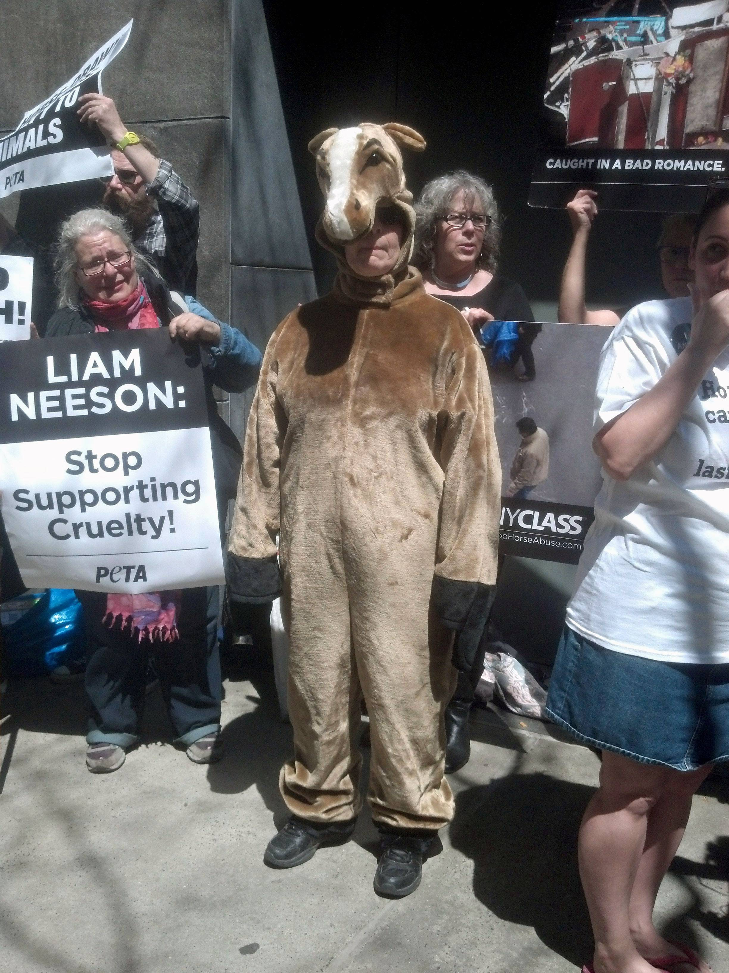 Dressed as a horse, Lisa Jablow, center, a member of NYCLASS which opposes use of carriage horses in New York City, joins other animal rights activists outside actor Liam Neeson's home on Saturdayto protest his stance on the continued use of carriage horses in Central Park and certain roads around the city. The 61-year-old actor is a vocal supporter of the city's carriage horse industry. Mayor Bill de Blasio has pledged to ban the horse-drawn carriages and replace them with electric vintage-style cars, commissioned by NYCLASS.