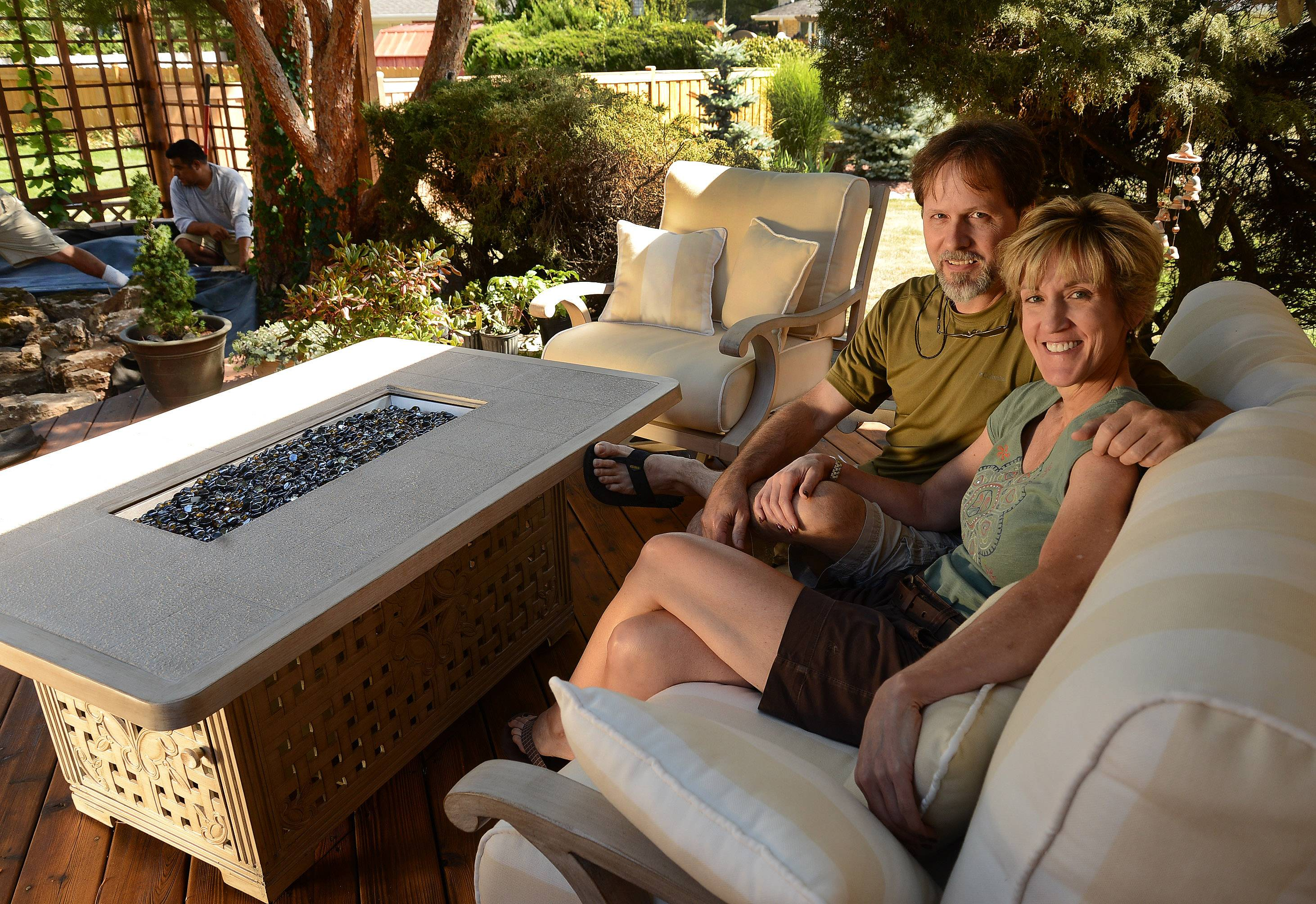 GYSO prize winners Amy and Scott Bell and their new outdoor furniture.