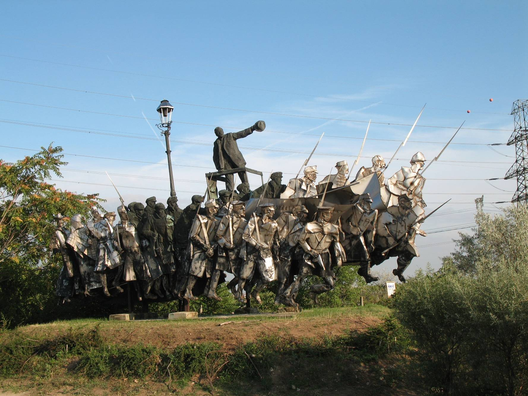 The Bela Kun Memorial is displayed in Memento Park, along with other Communist era statues.