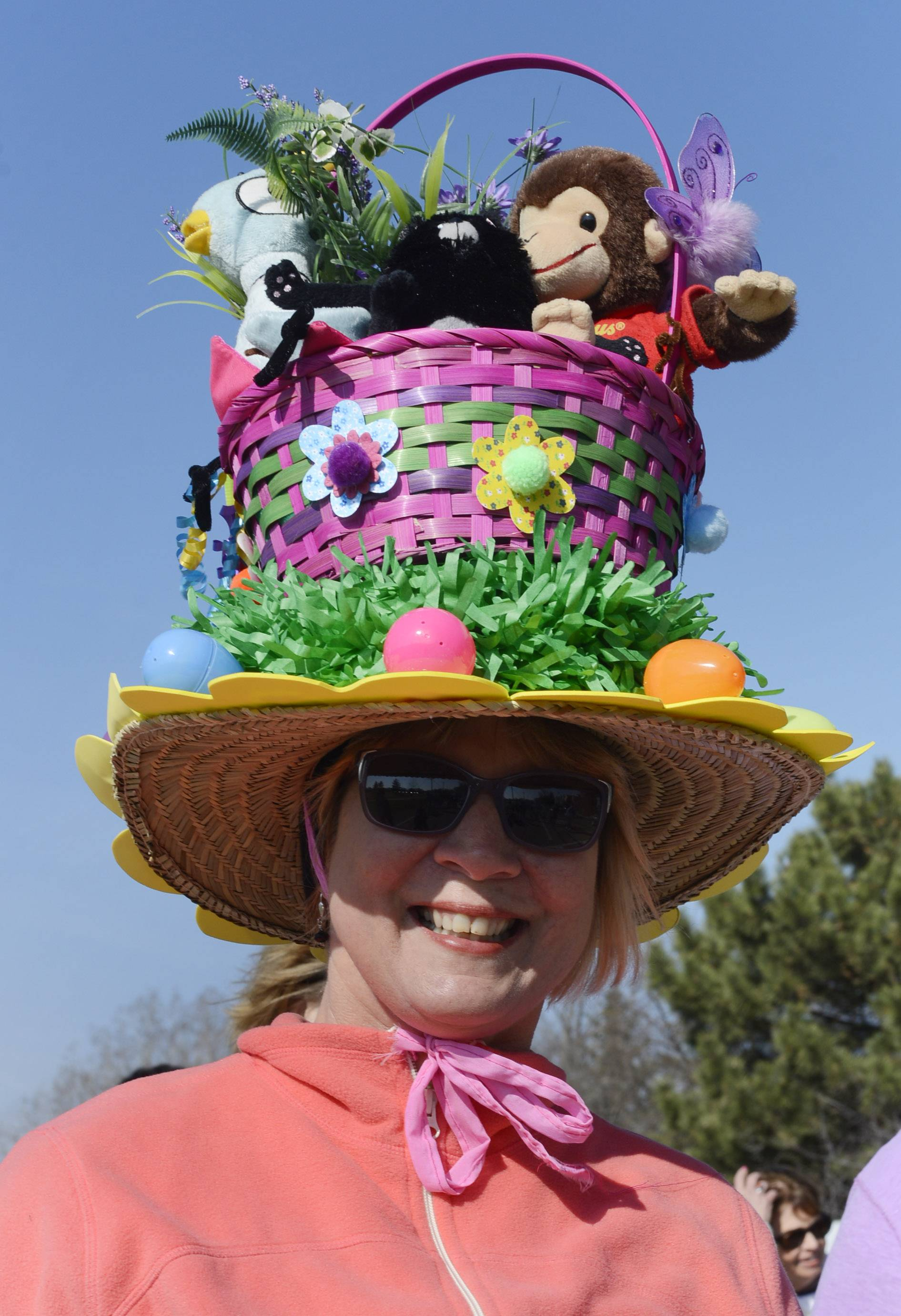 Regina Schauer of the Wauconda Area Library wears an Easter basket hat as she walks in the third annual Bunny Hop run and walk in Wauconda Saturday.
