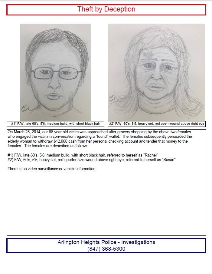 Sketches of possible suspects in a theft from March were released on Friday.