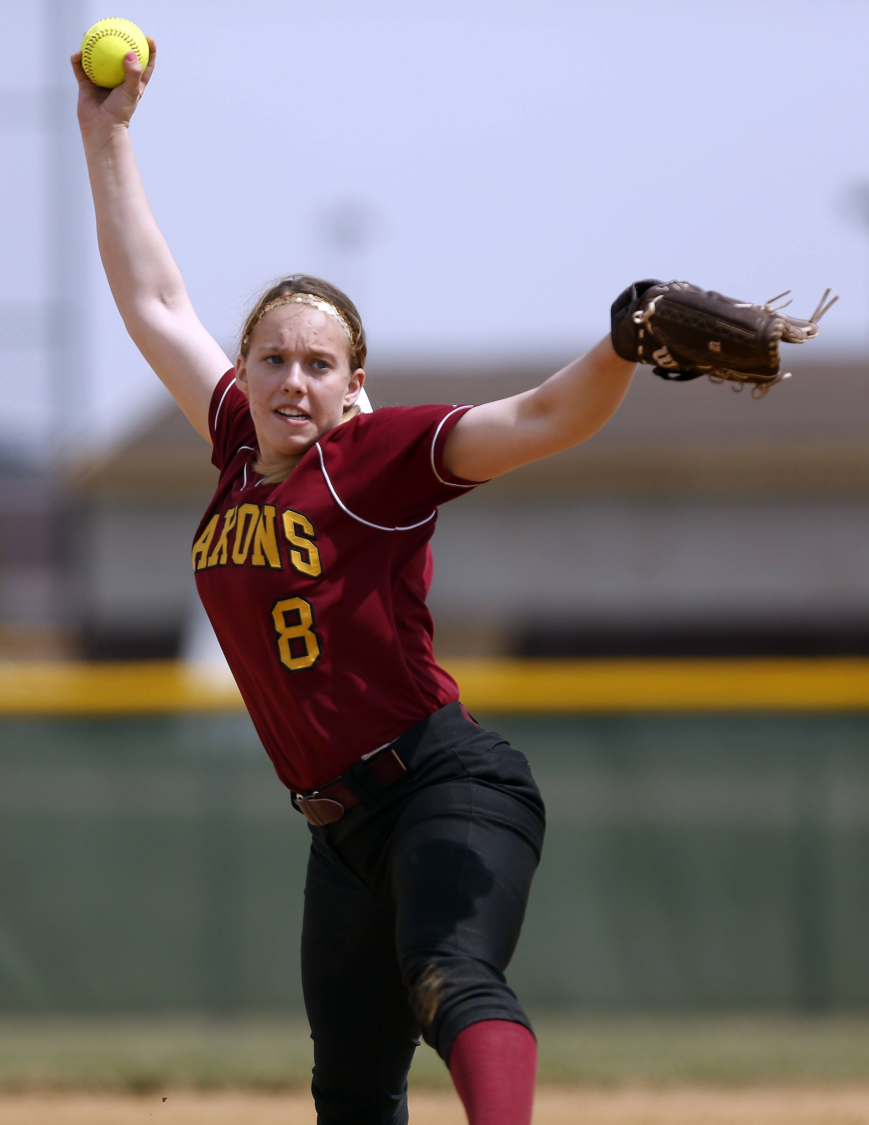 Schaumburg's Roxanne Kakareka delivers a pitch at Jacobs on Saturday.