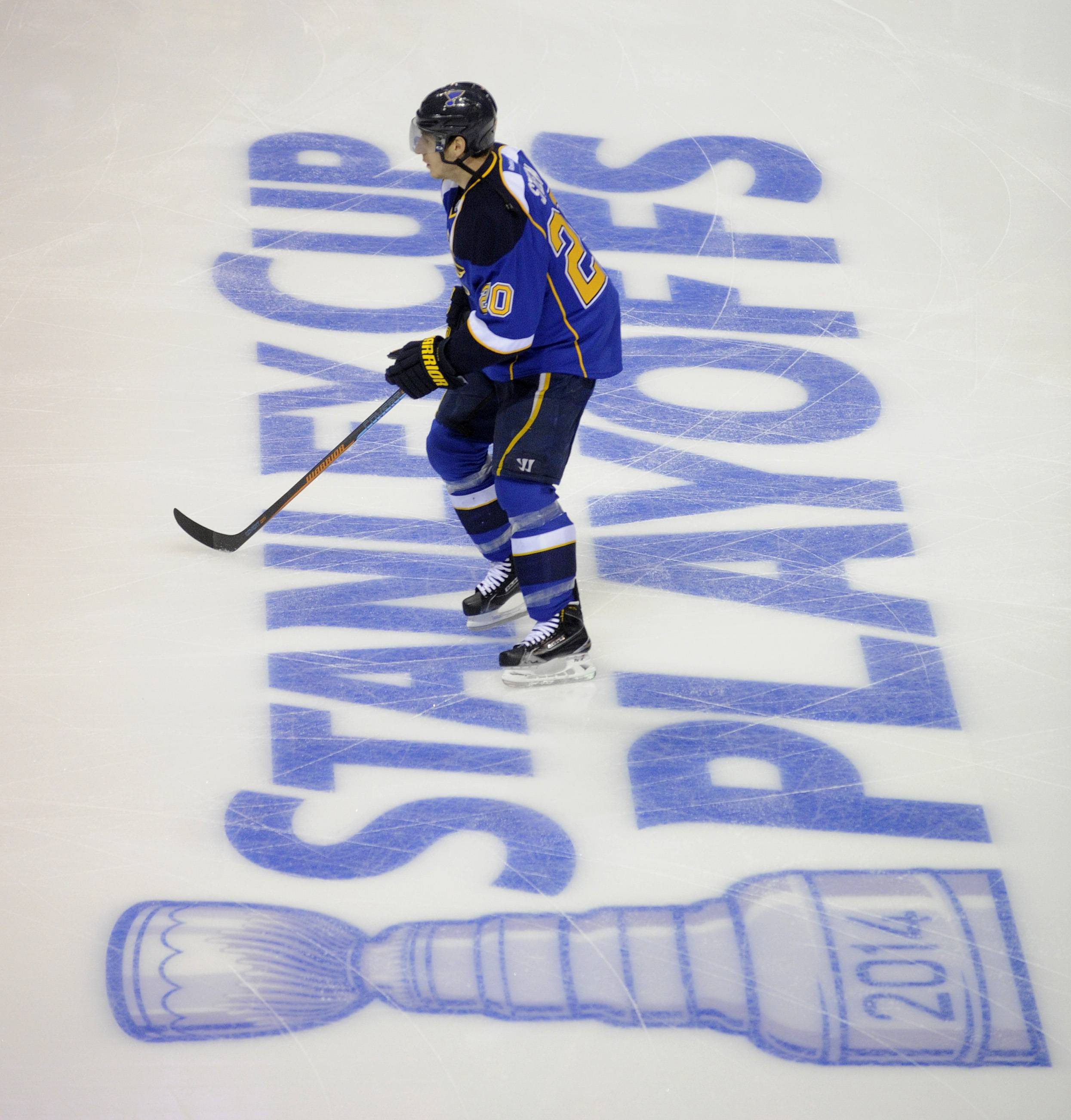 St. Louis Blues' Alexander Steen warms up prior to Game 2 of a first-round NHL hockey Stanley Cup playoff series against the Chicago Blackhawks, Saturday, April 19, 2014, in St. Louis.