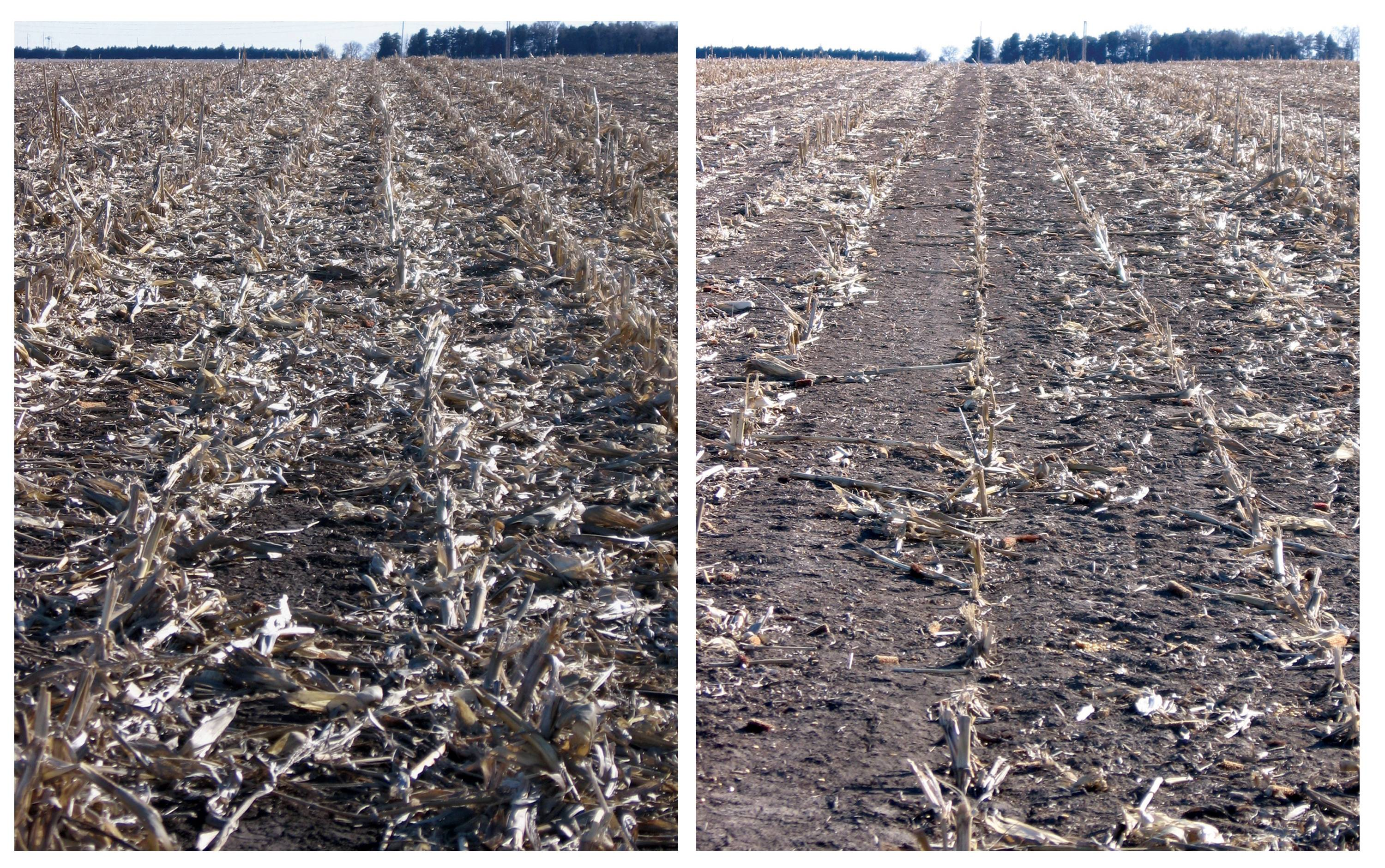 This undated combo photo, provided by the University of Nebraska-Lincoln, shows corn residue after grain harvest, left, adjacent to a field section where corn residue was baled and removed after grain harvest. Biofuels made from corn leftovers after harvest are worse than gasoline for global warming in the short term, challenging the Obama administration's conclusions that they are a cleaner oil alternative from the start and will help climate change.