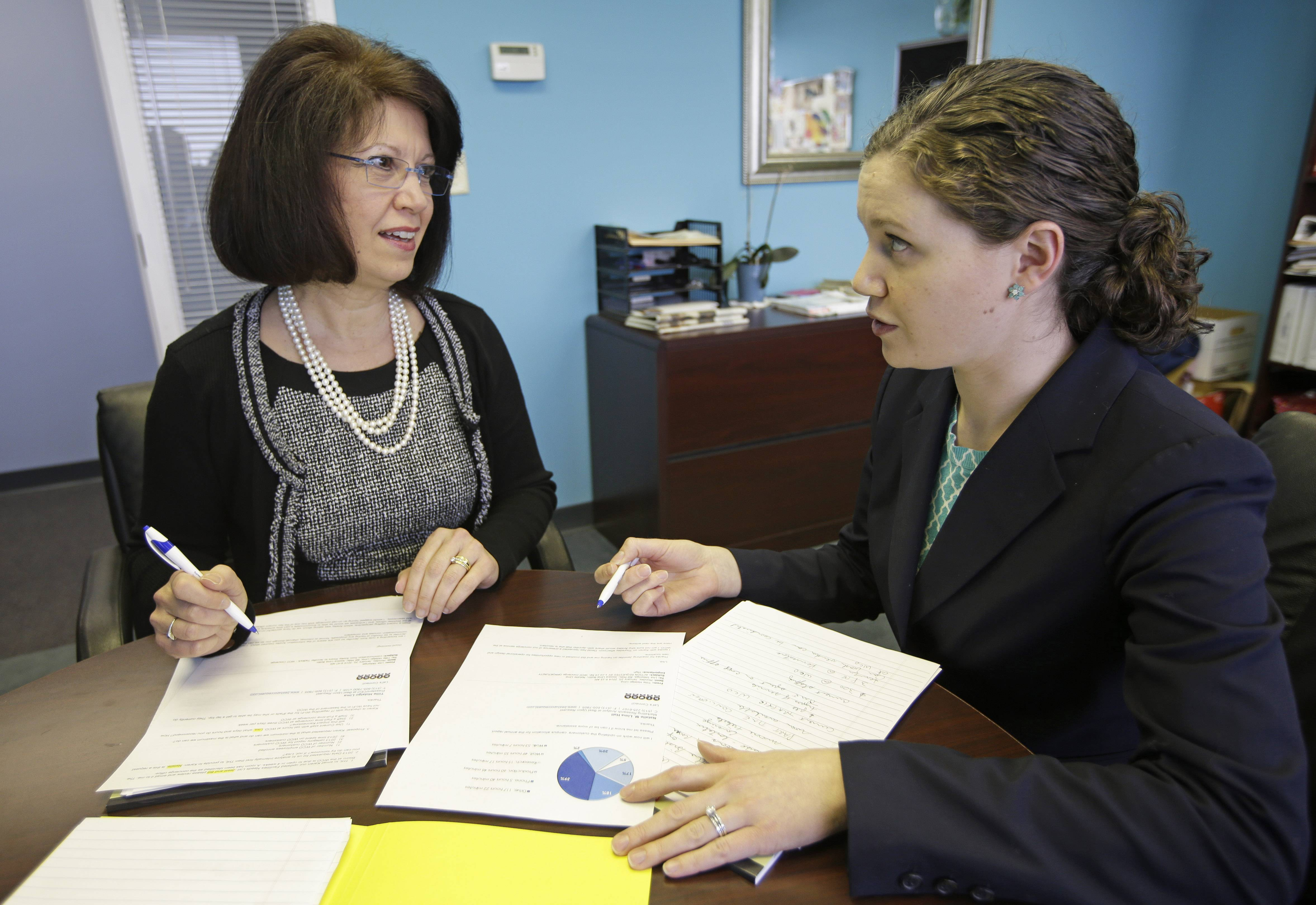 In this Jan. 22, 2014 photo, Tillie Hidalgo Lima, chief executive officer of Best Upon Request, a concierge services provider, left, works with marketing director Jessica Lima Bollin in their offices in Cincinnati. A mentoring program created by the Cincinnati USA Regional Chamber called a minority business accelerator has helped Lima get contracts with Fifth Third Bank Corp. and the Cincinnati Children's Hospital Medical Center.
