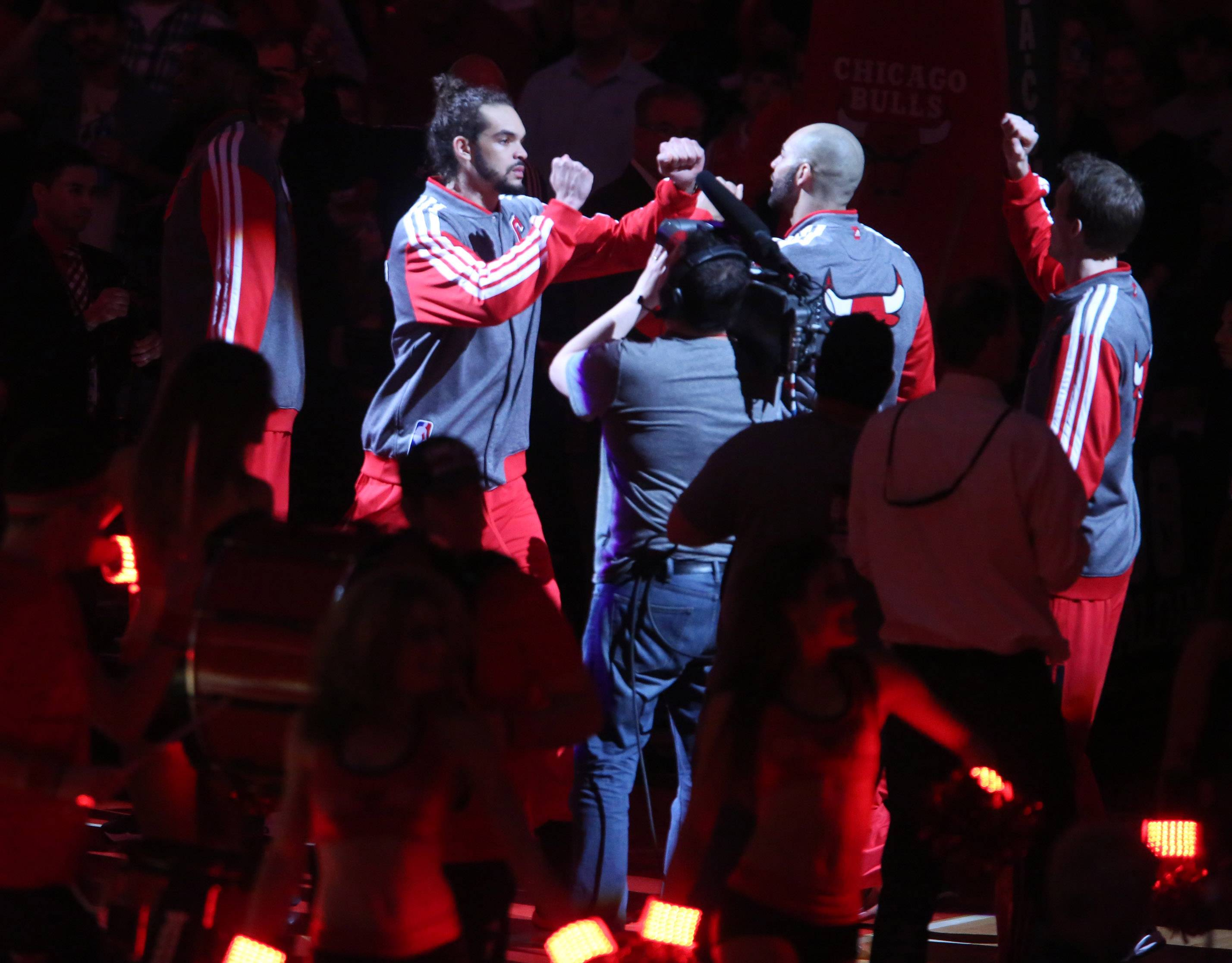 Chicago Bulls center Joakim Noah takes the floor to play the Washington Wizards in game 1 of an Eastern Conference first-round NBA playoff series.