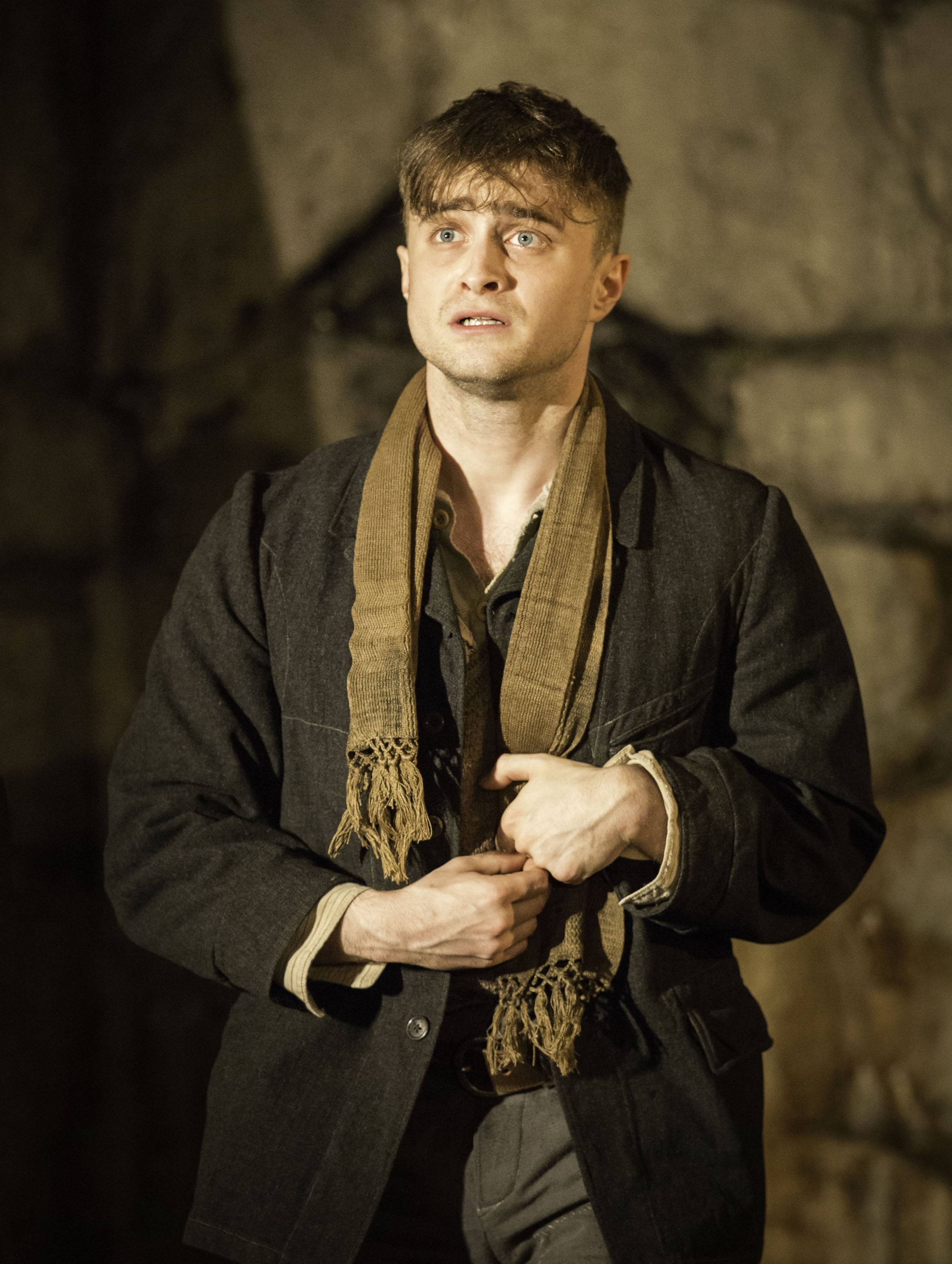 "This image released by Boneau/Bryan-Brown shows Daniel Radcliffe performing in ""The Cripple of Inishmaan,"" opening April 20 at the Cort Theatre in New York."