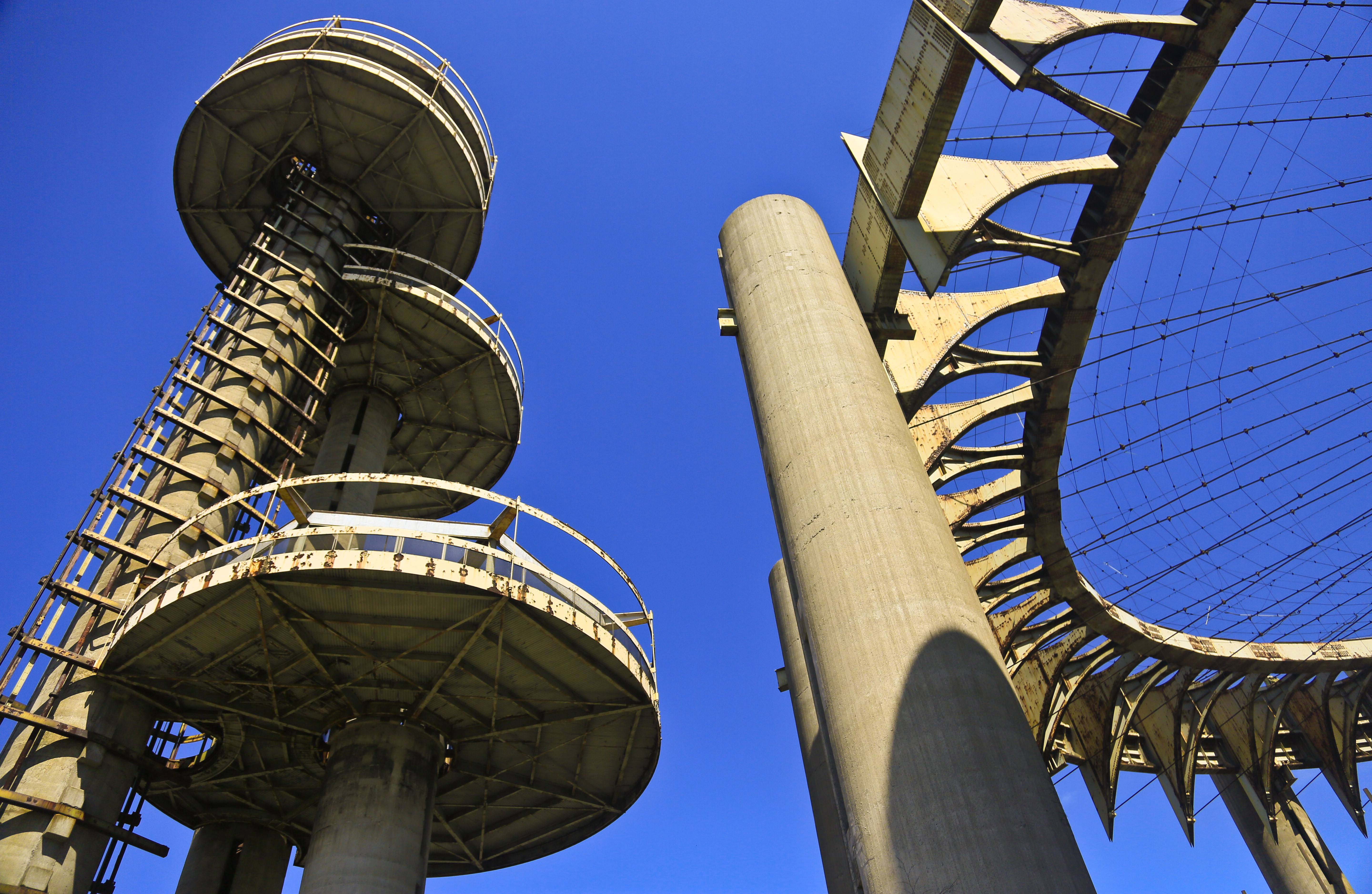 Those looking to soak up a little nostalgia on the 1964 World's Fair's 50th anniversary can visit the space-age towers, topped by flying-saucer-like platforms, and a ring of pillars that once housed the New York State Pavilion in New York.