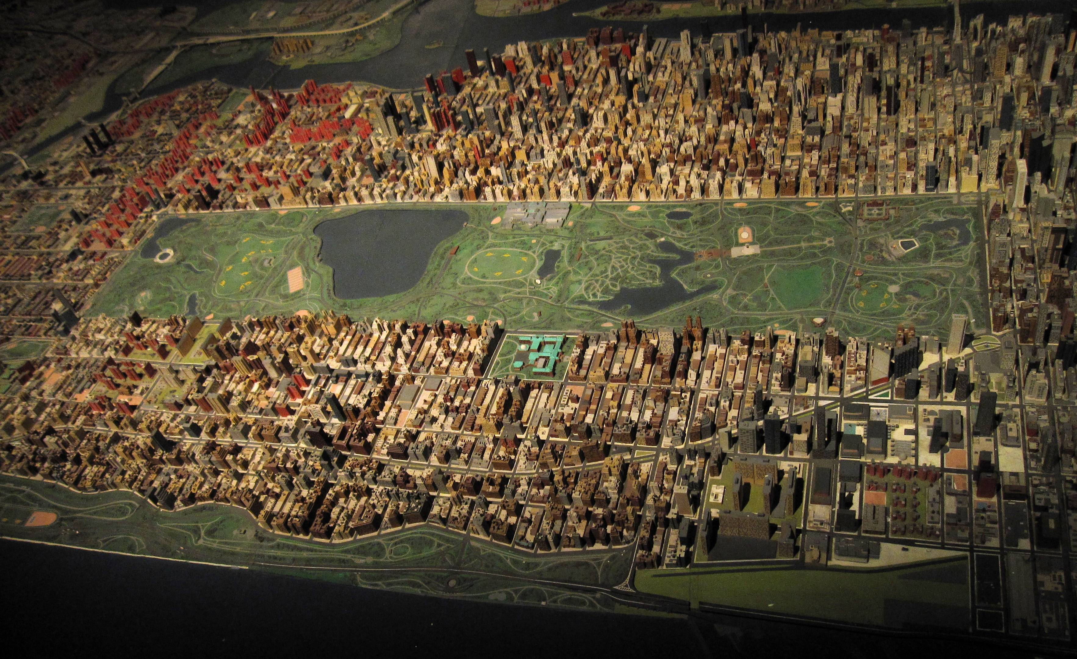 "The ""Panorama of the City of New York,"" a scale model of the city on display at the Queens Museum of Art in New York, debuted at the 1964 World's Fair."