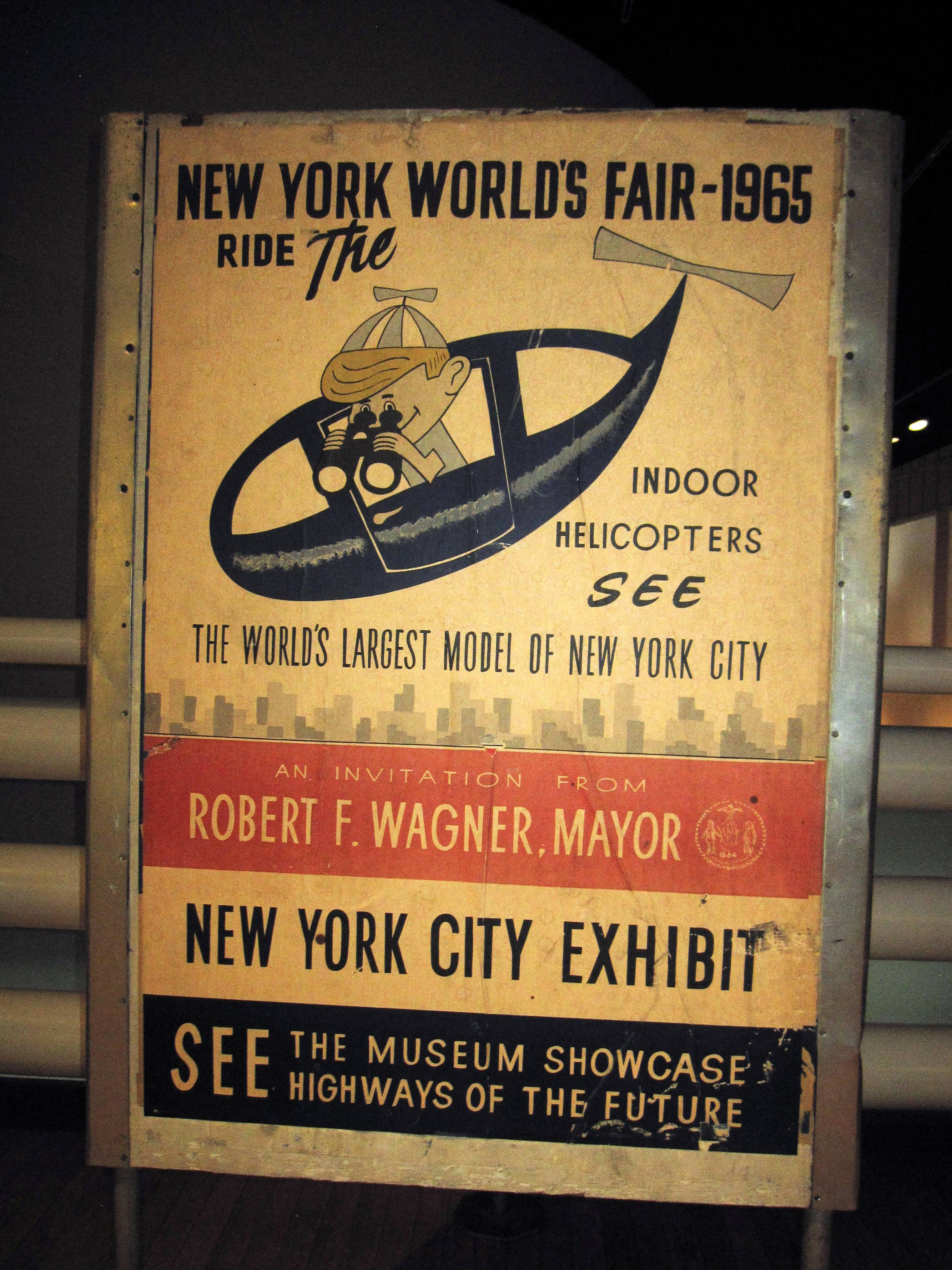 This poster from the 1964 World's Fair is on display at the Queens Museum of Art in Flushing Meadows Park along with other artifacts from the fair.