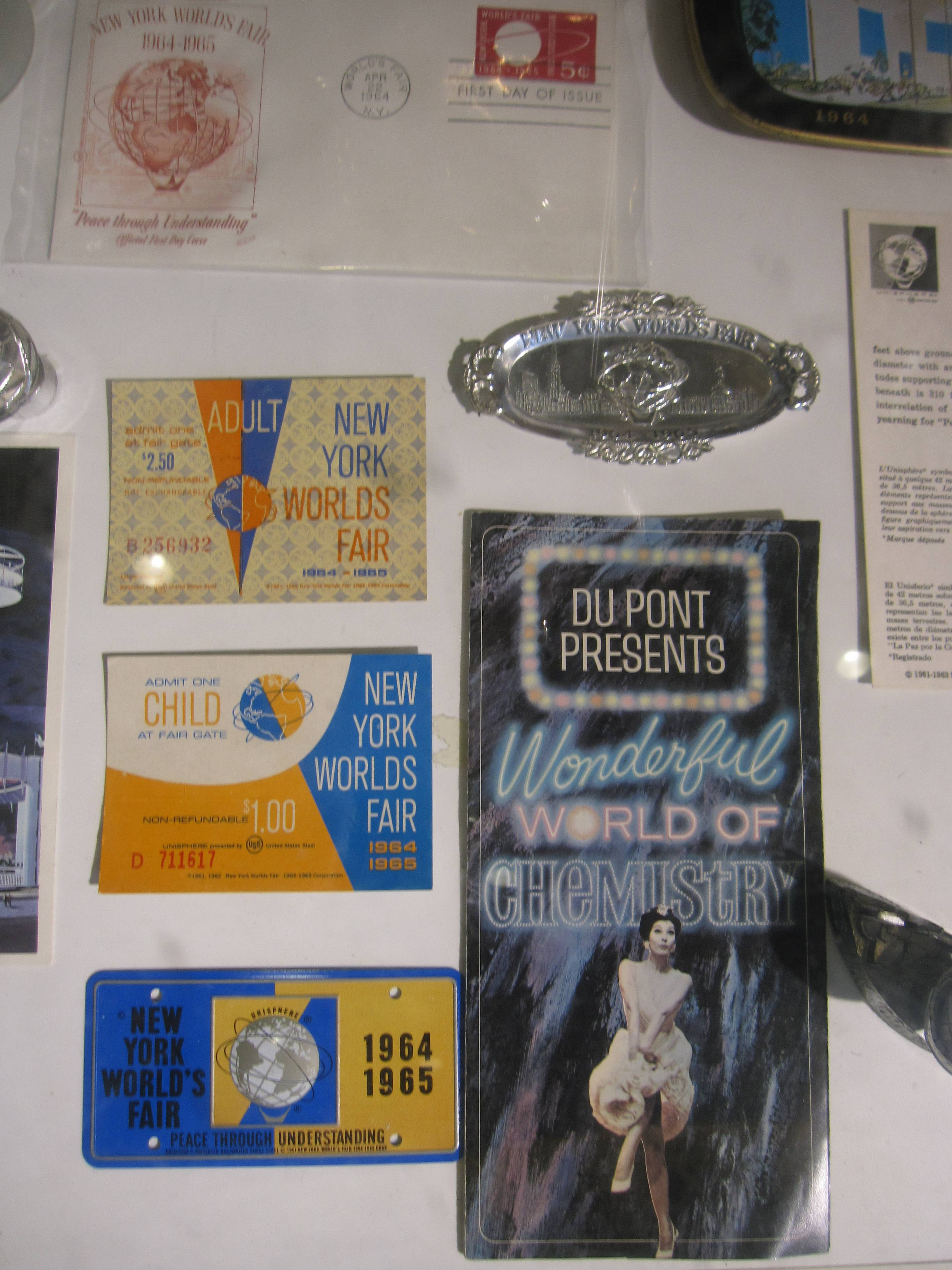 The 50th anniversary of the 1964 World's Fair is being observed April 22, and there are a number of sites and relics in Queens dating from the fair, including this display of tickets, brochures and other memorabilia at the New York Hall of Science.