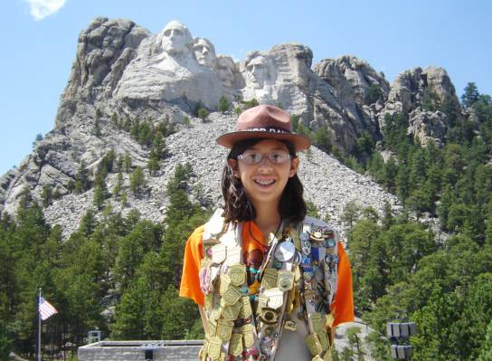 Aida Frey, 13, of Algonquin, who has visited 163 national parks and historic sites, has been dubbed an unofficial spokesperson for the National Park Service's Junior Ranger program.