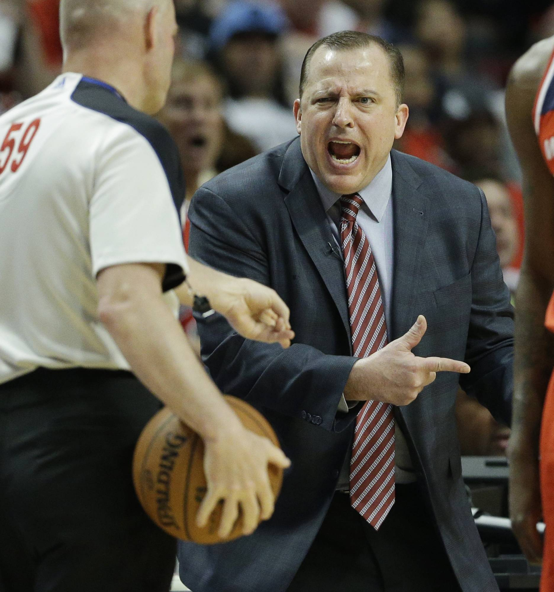 Bulls coach Tom Thibodeau reacts to a call during the second half in Game 1 of an opening-round playoff series against the Washington Wizards on Sunday night at the United Center. The Wizards won 102-93.
