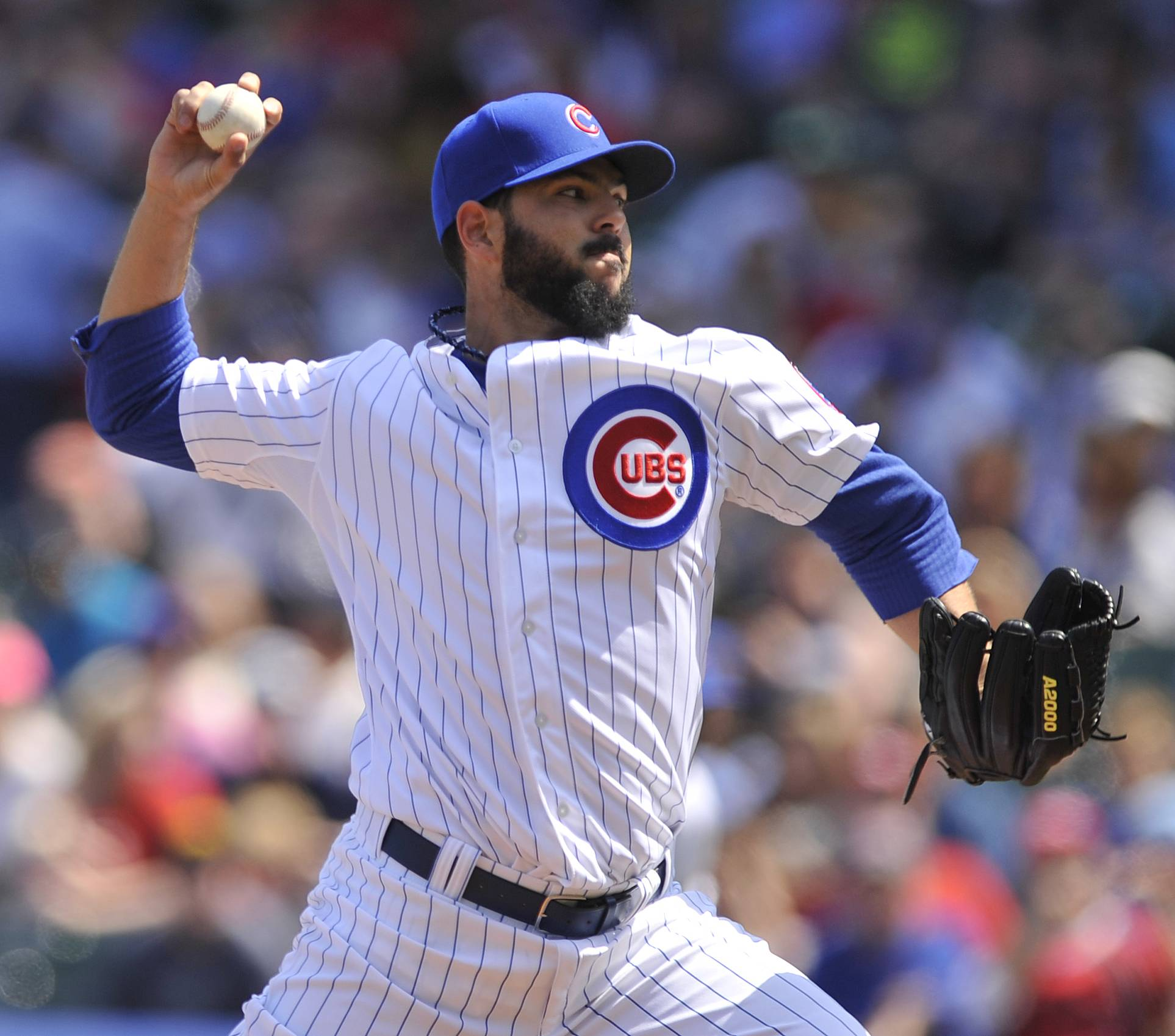 Cubs starter Carlos Villanueva threw 103 pitches in 4⅔ innings Sunday as his record slipped to 1-4 with the loss to the Reds.