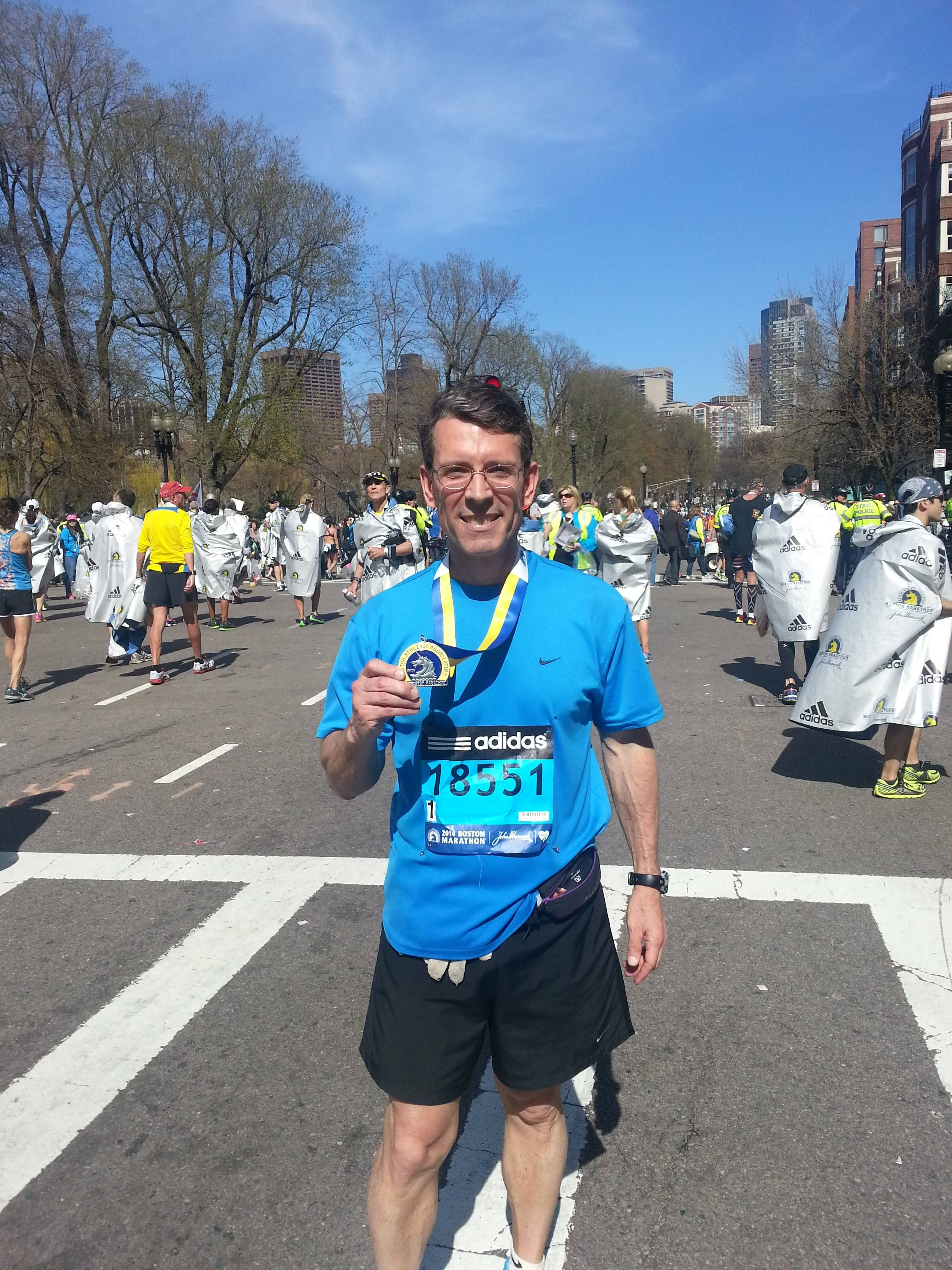 Arlington Heights Mayor Tom Hayes after completing the Boston Marathon in 3:49:03.