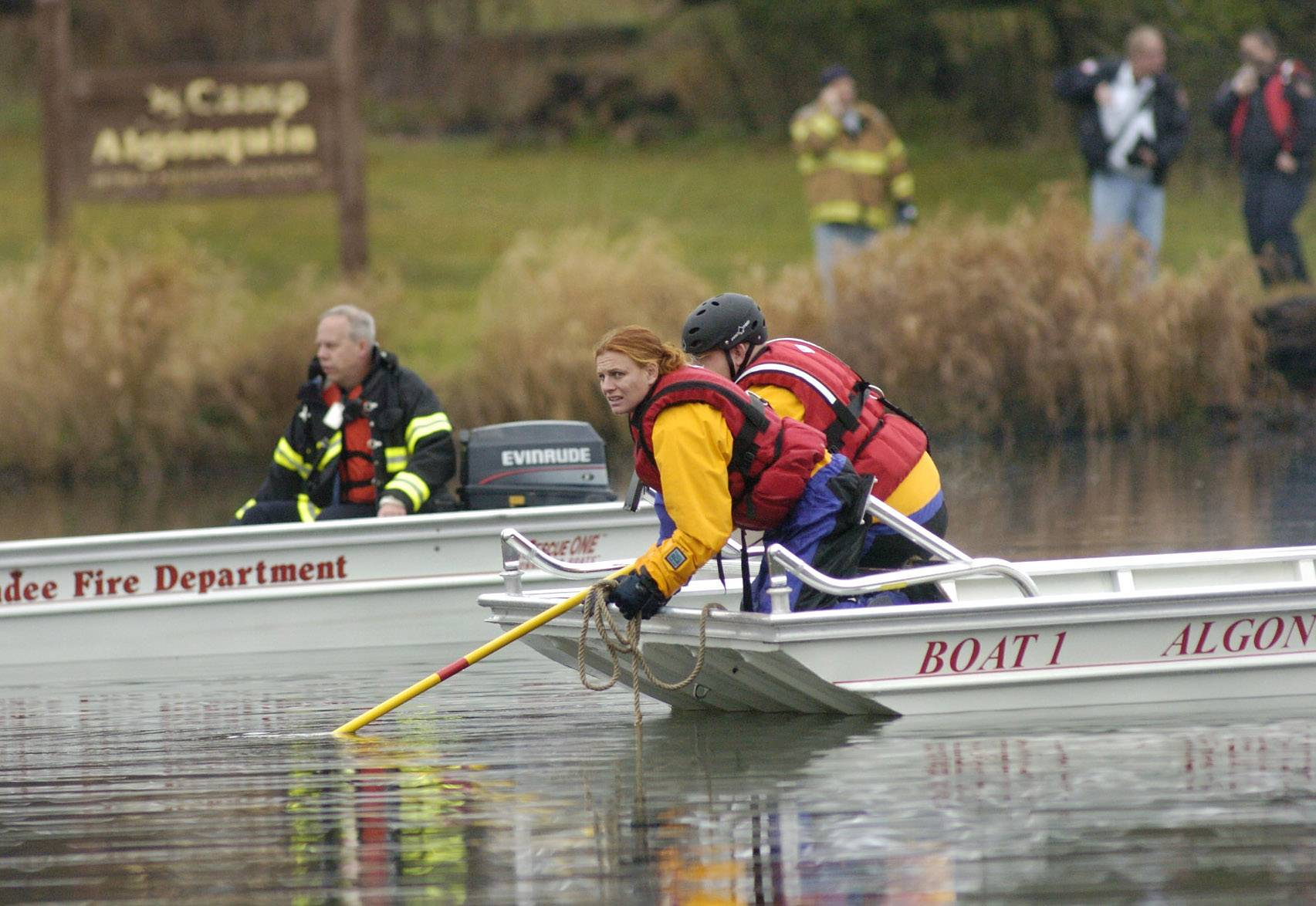 Police search for drowning victims in the Fox River outside Camp Algonquin in 2008.