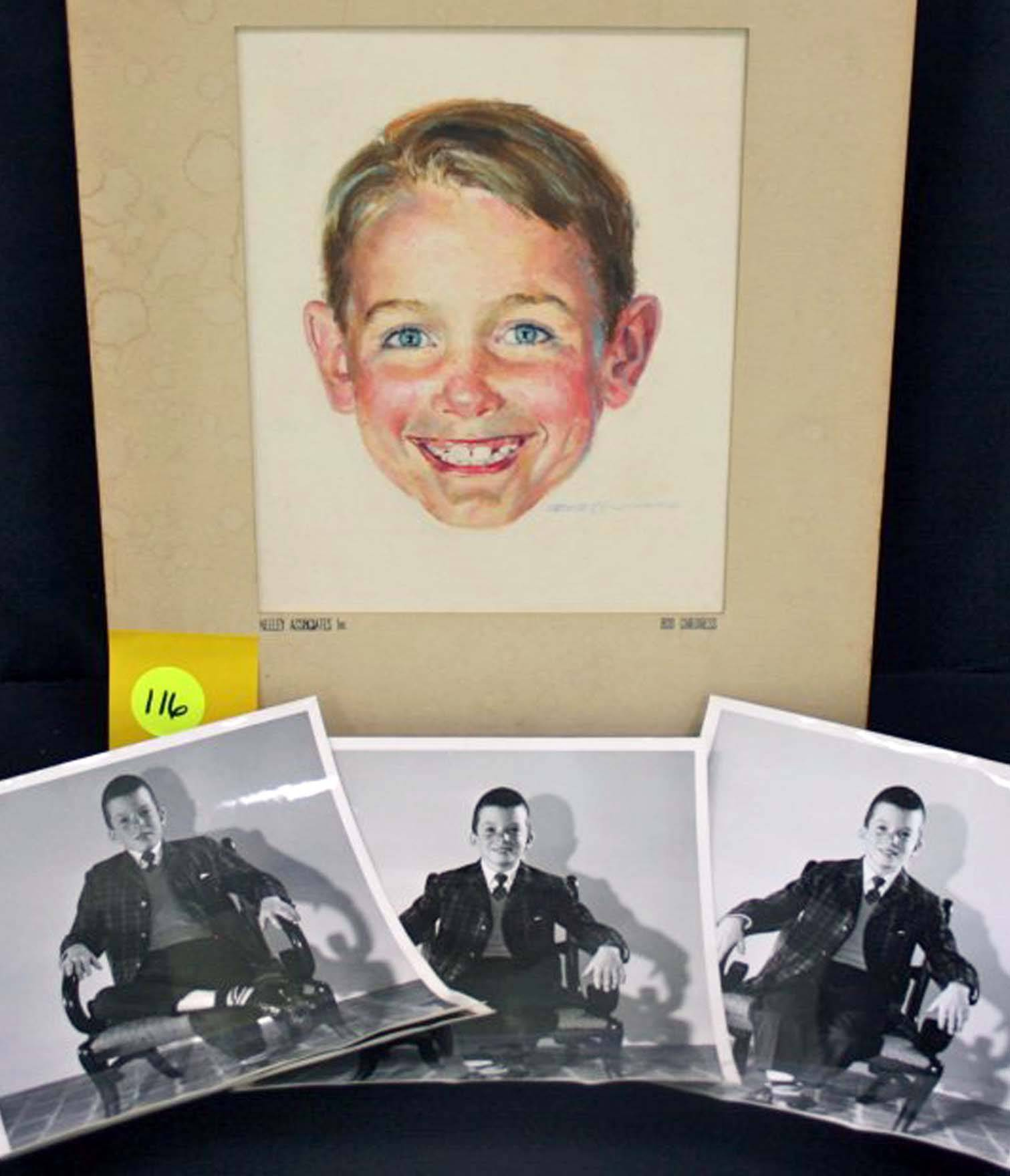 Associated PressA watercolor by Robert Childress and photos of the model used to paint it. The portrait is of Dick of the Dick and Jane series of books that helped teach generations of children to read.