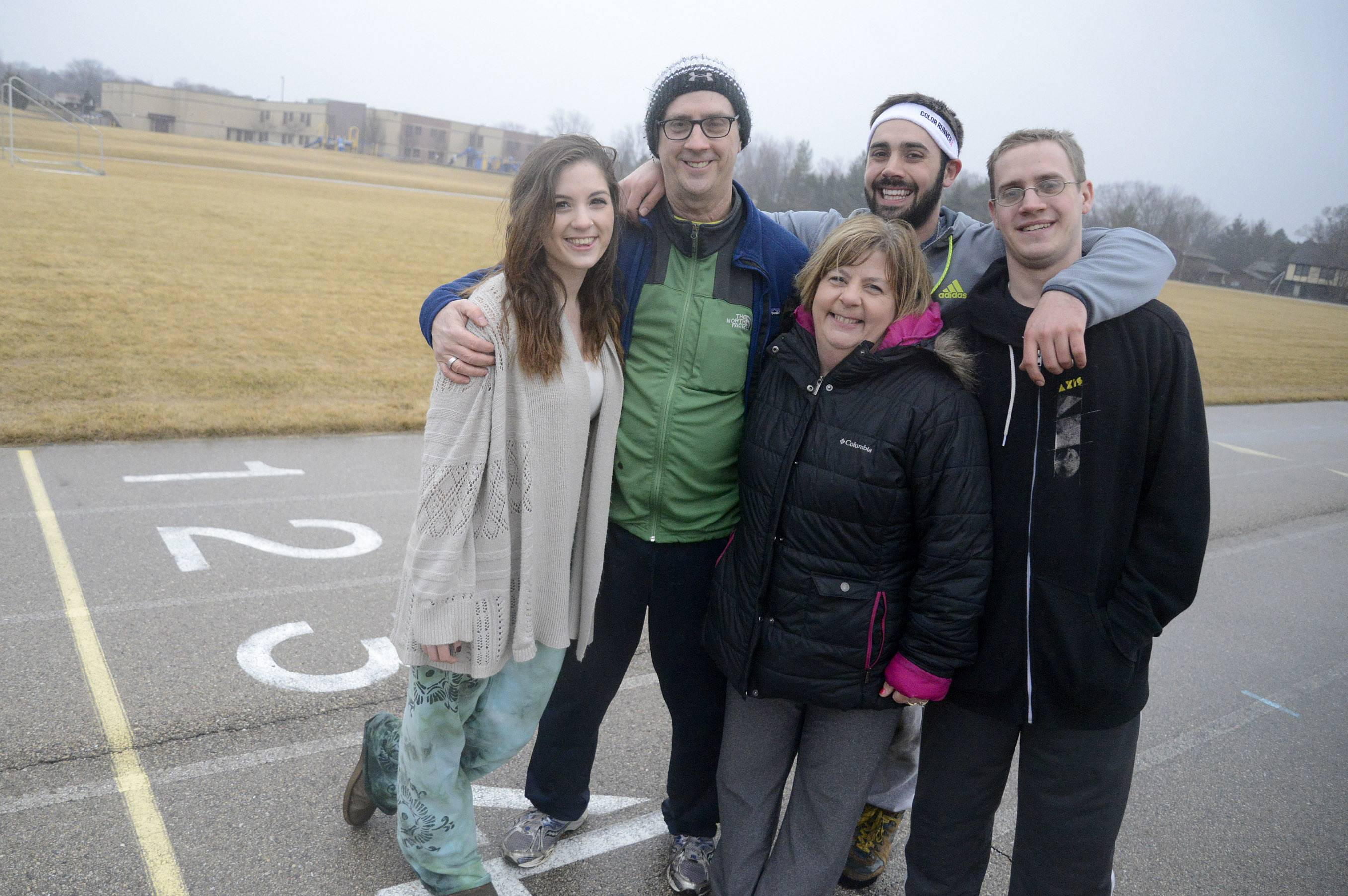 With his wife and kids on board, Fittest Loser Tim Lange of Algonquin is confident he'll succeed. From left, daughter Julie, 18, Tim, wife Kathy, and sons Tony, 24, and Mike, 26.
