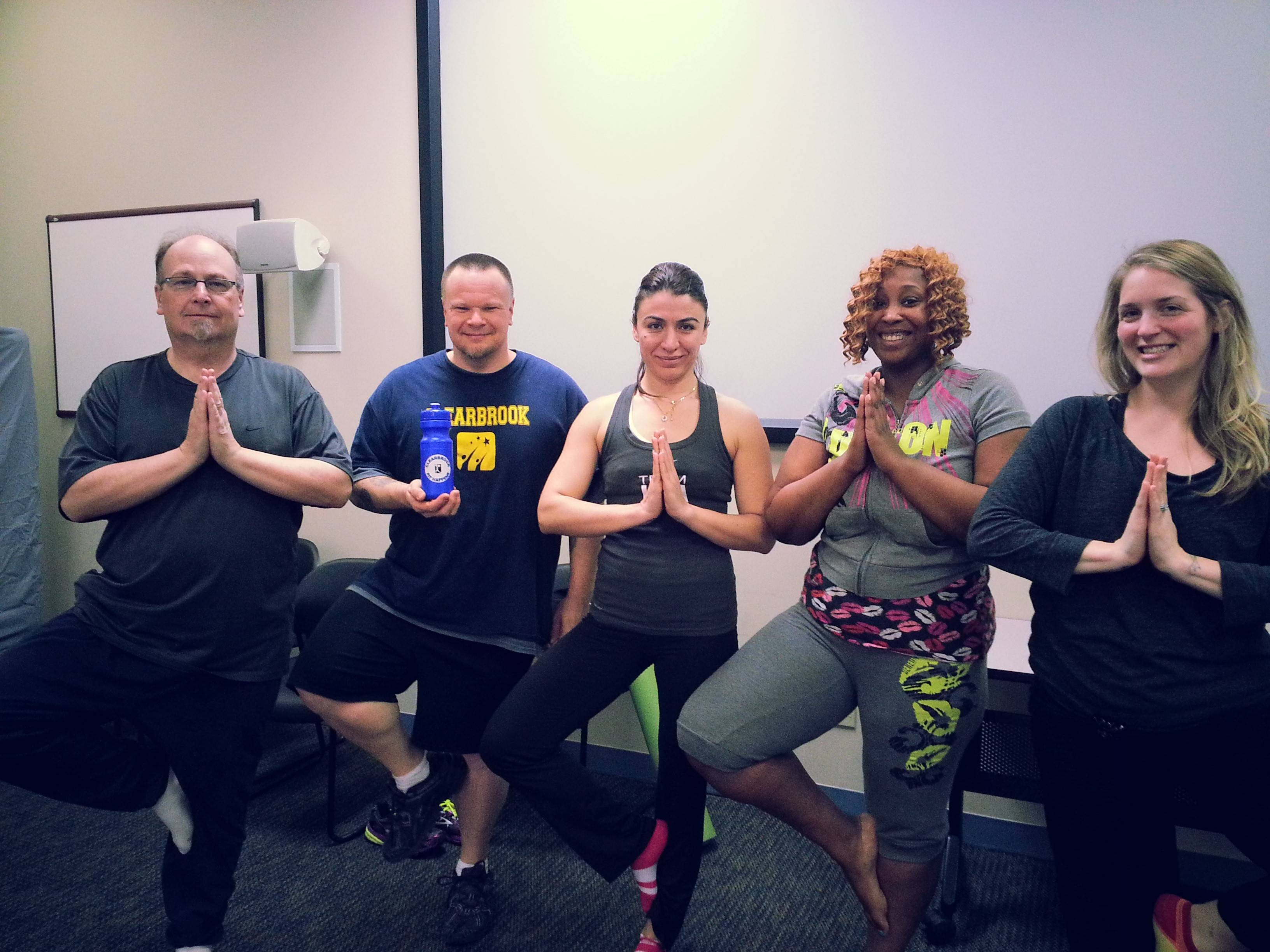 Clearbrook's Fit Happens team took advantage of the yoga instructor provided by Assurance.