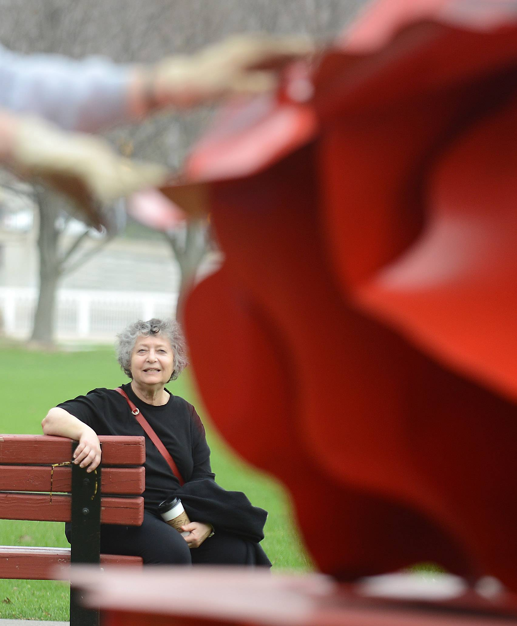 "Ruth Aizuss Migdal of Chicago watches as her sculpture, ""Here,"" is installed Monday at Mount St. Mary Park in St. Charles as part of the 9th annual Sculpture in the Park exhibit."