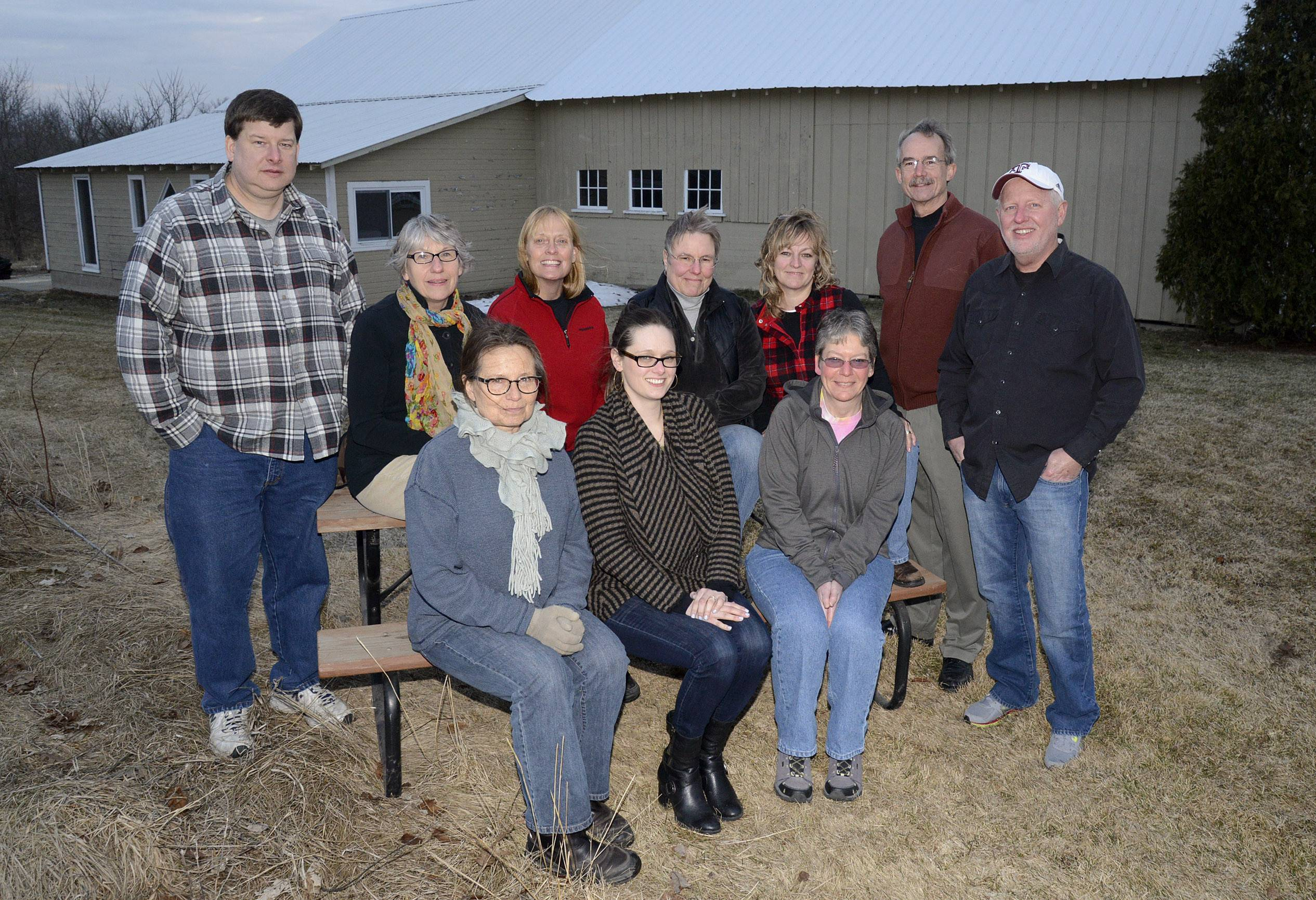 Members of the yet-to-be-named McHenry area food co-op meet at the Marengo home of steering team member Scott Brix, back row, far right.