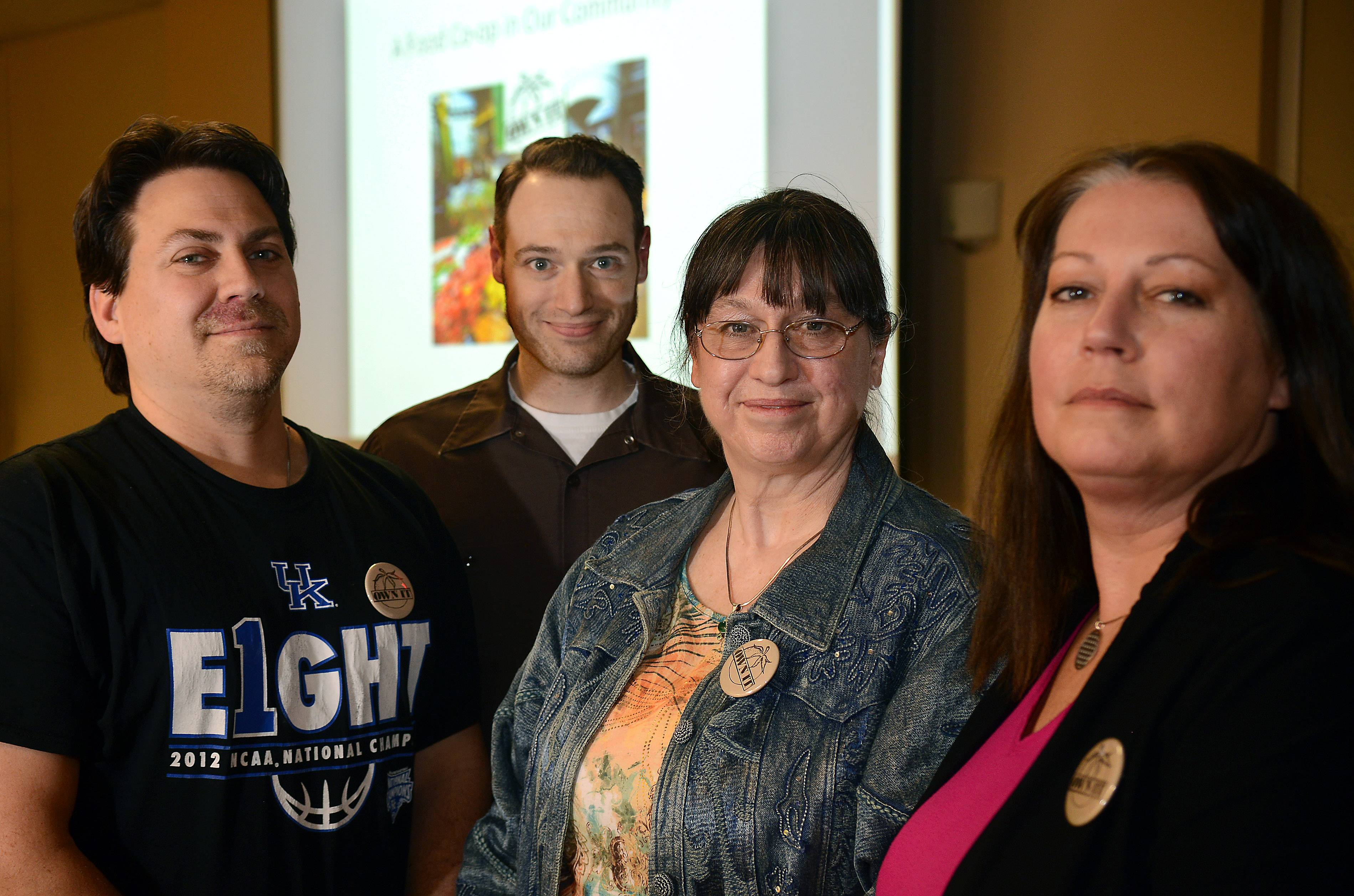Green Tomato Co-op organizers, from left, Steve Meyer, Michael Vincent, Kelley Matthews and Jennifer Echert are hoping to open their own retail store in Batavia.