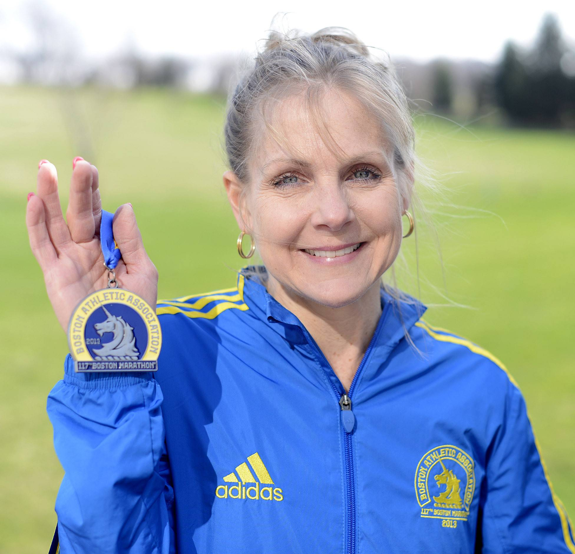 Sue Gruner was crossing the finish line in the Boston Marathon last year when the first of two terrorist bombs exploded. She said she'll be thinking about the runners and others whose lives were affected during today's race.
