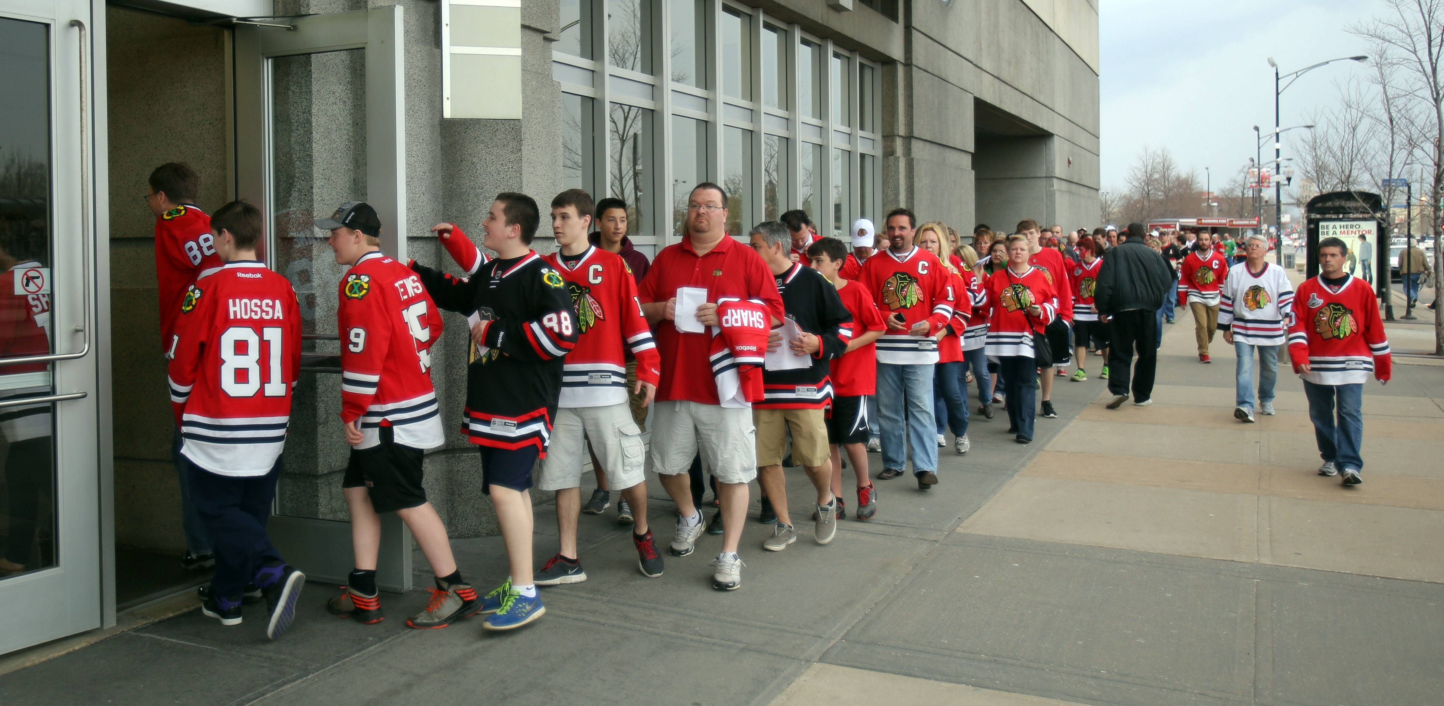 Hawks fans file into the United Center.