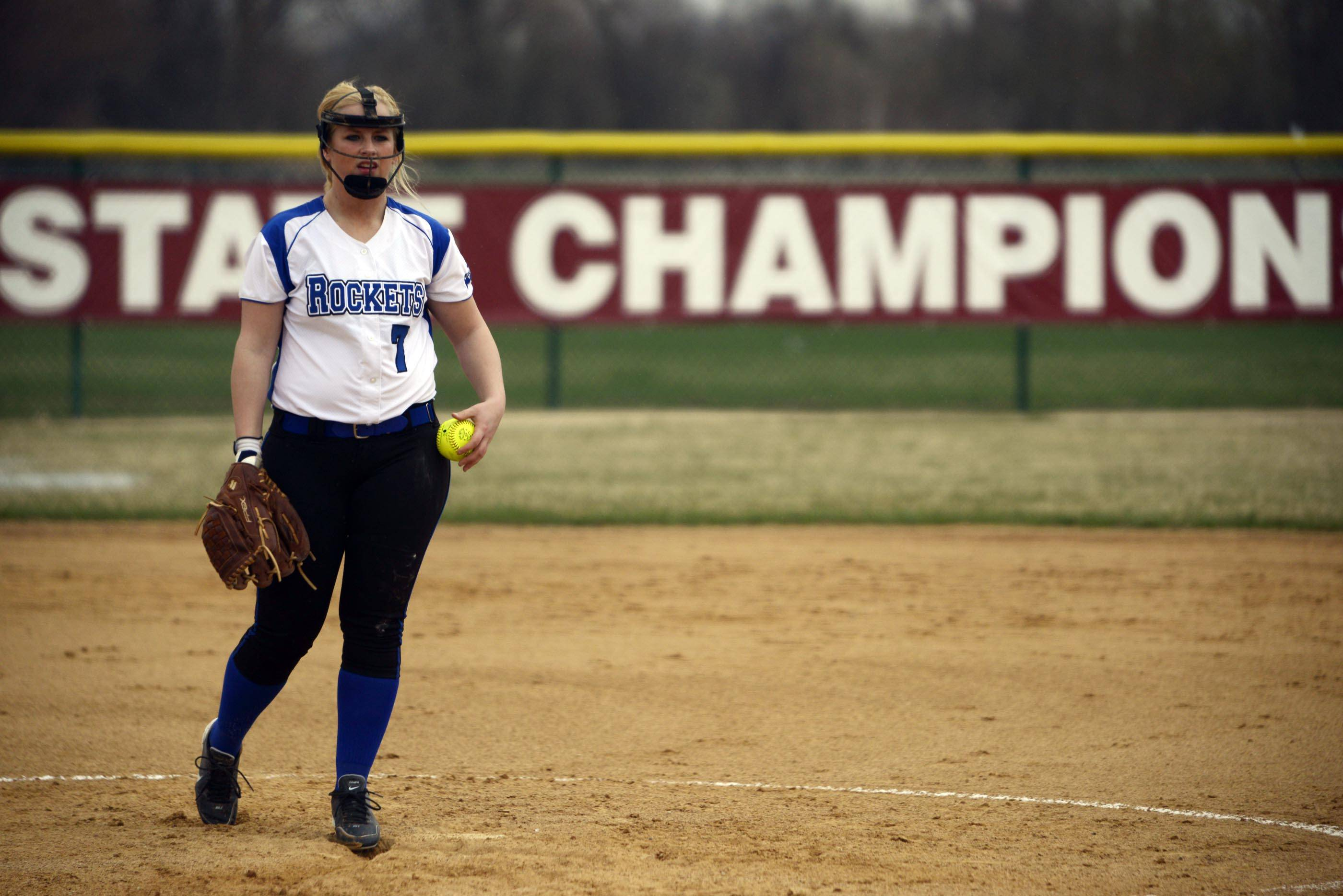 Burlington Central's Brooke Gaylord prepares to pitch against Marengo Monday in Marengo.