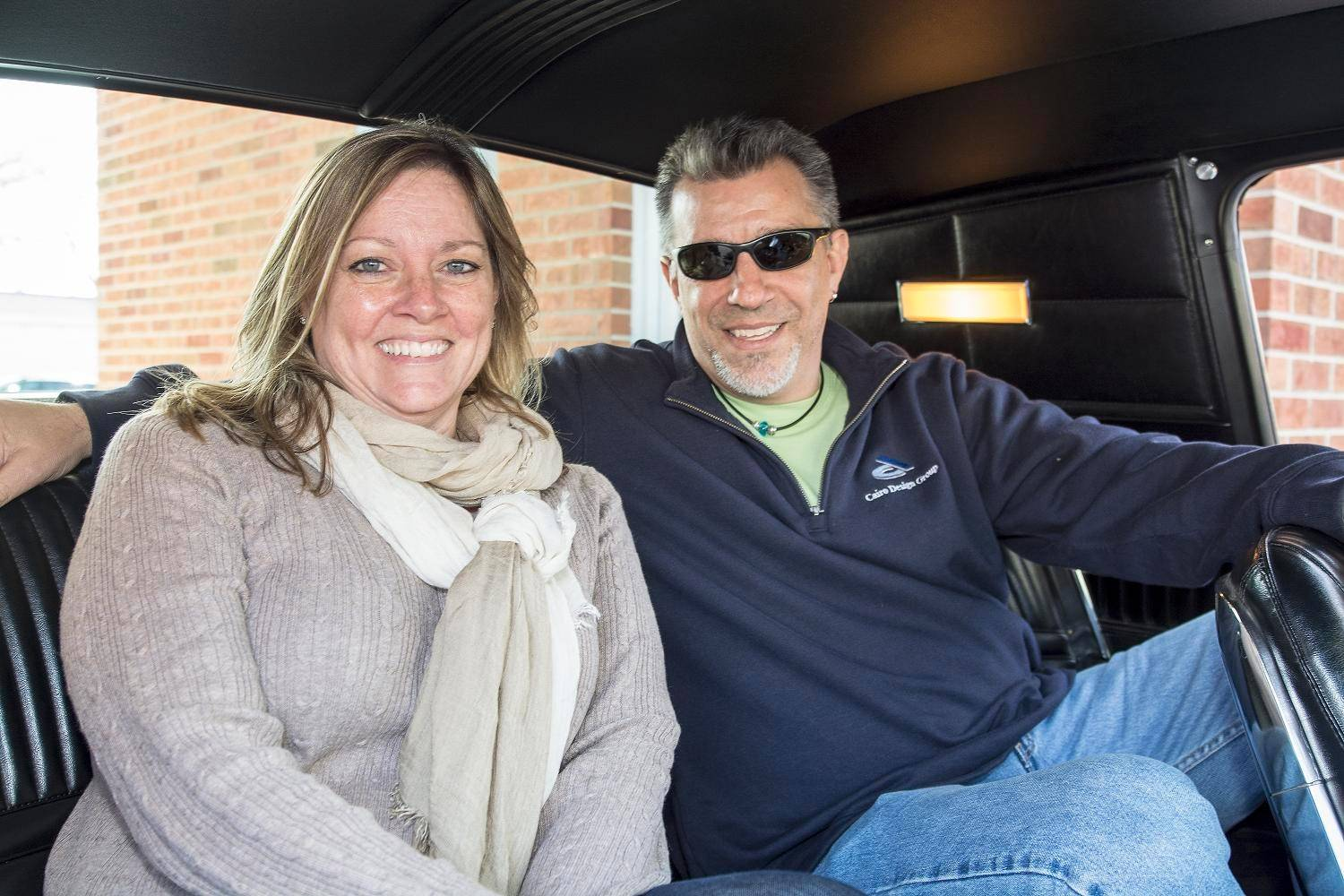 Jim Cairo and his wife, Lonnie, of Lake Zurich sit in the back seat of a Thunderbird where he first sat on a family trip to Los Angeles in 1972.