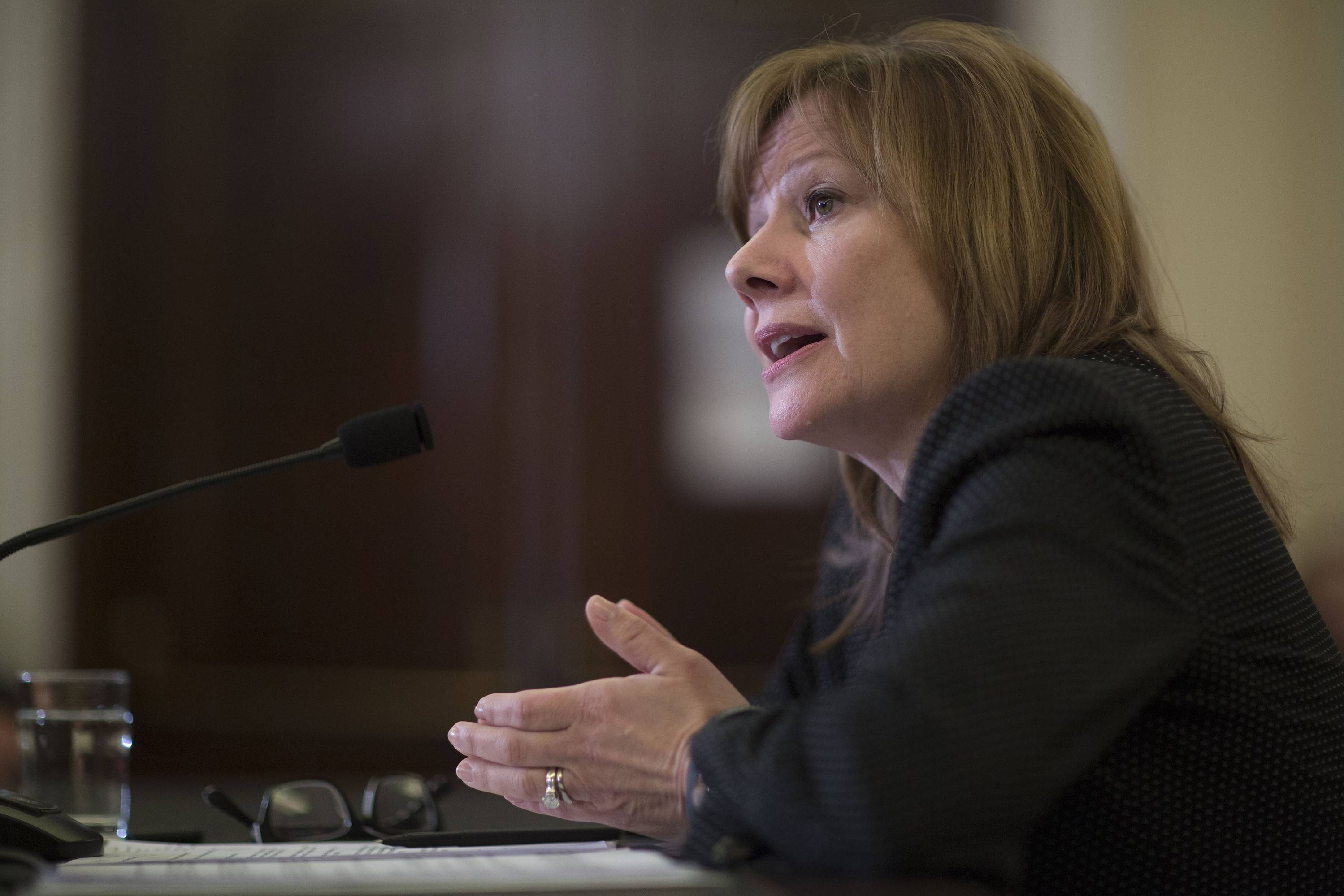 Mary Barra, chief executive officer of General Motors Co. (GM), speaks during a Senate Consumer Protection, Product Safety, and Insurance subcommittee hearing in Washington, D.C.earlier this month.