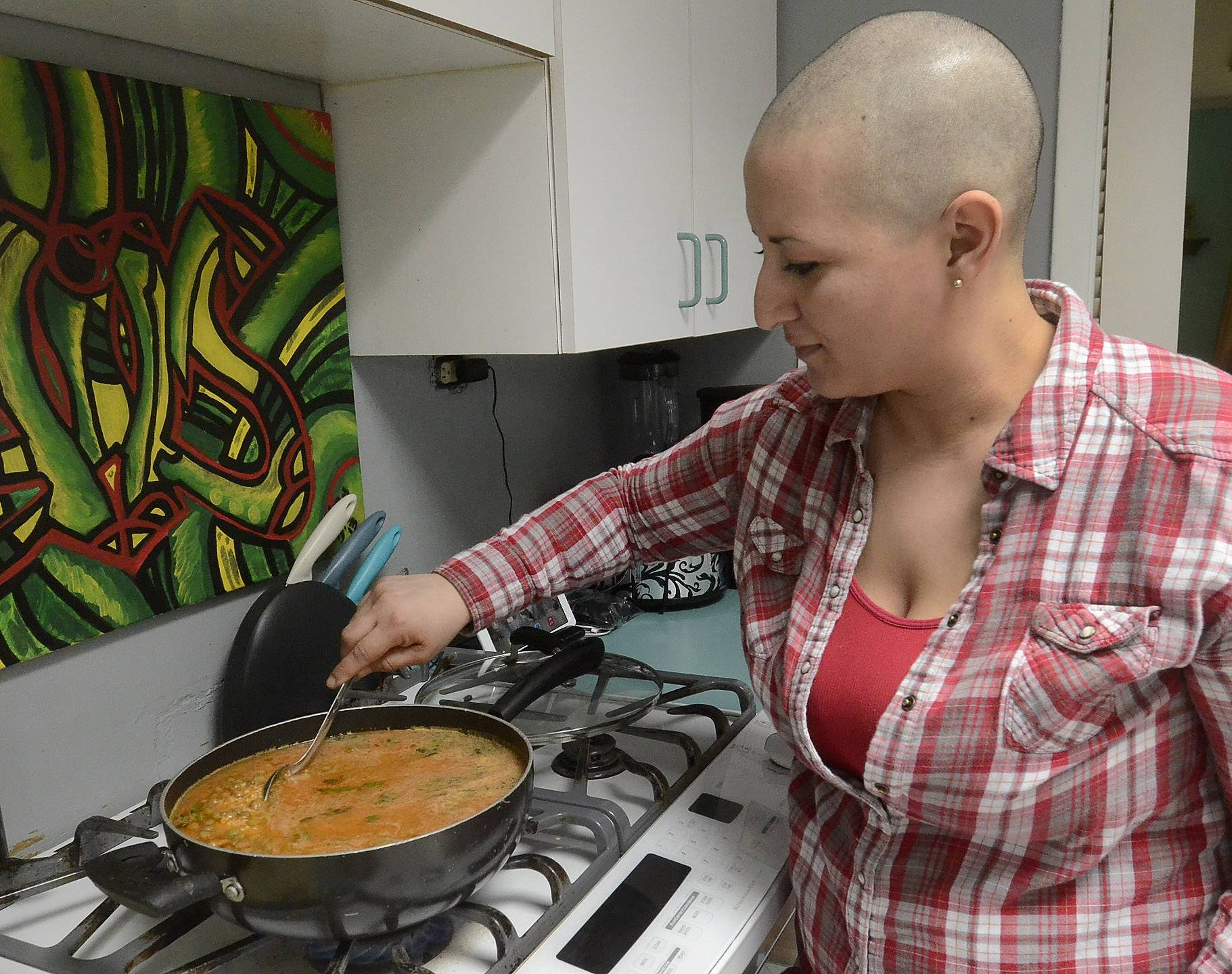 Cooking is another creative outlet for artist Luisa Maria Morales. She recently donated her hair at a St. Baldrick's fundraiser.