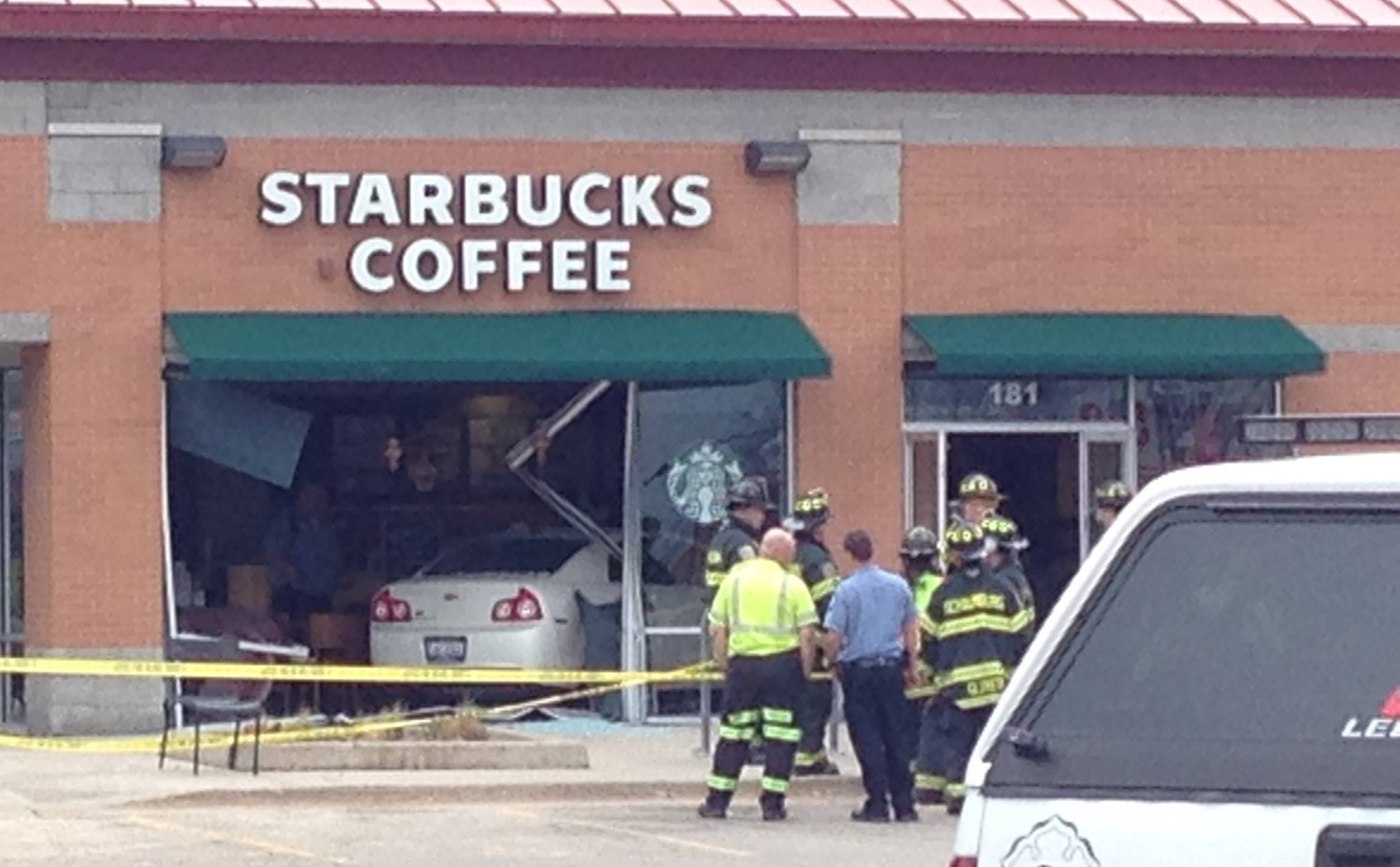 A driver crashed through the front window of a Starbucks late Monday afternoon on Barrington Road in Schaumburg.