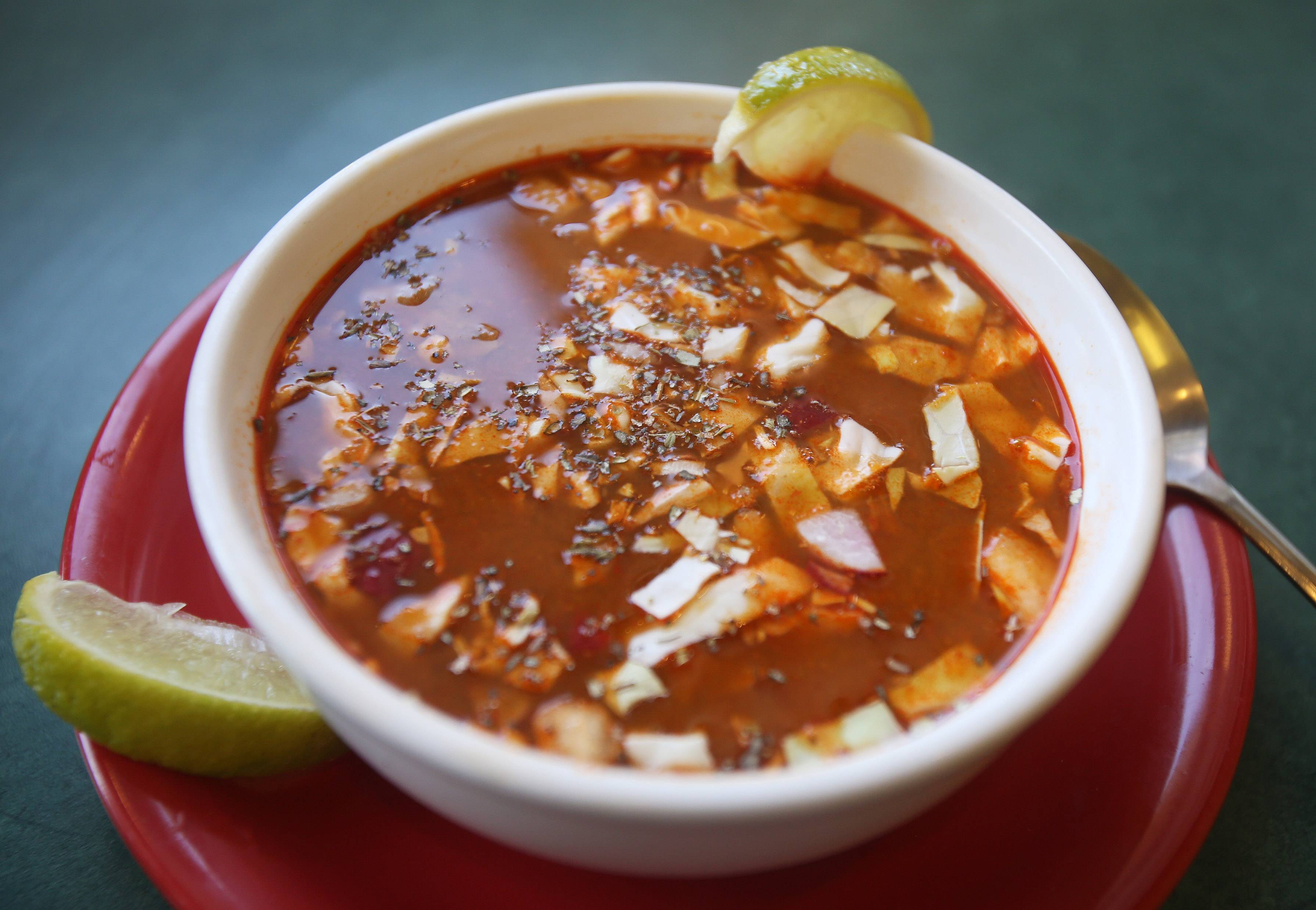 Momcorn's pozole soup has quite a kick. Consider yourself warned.