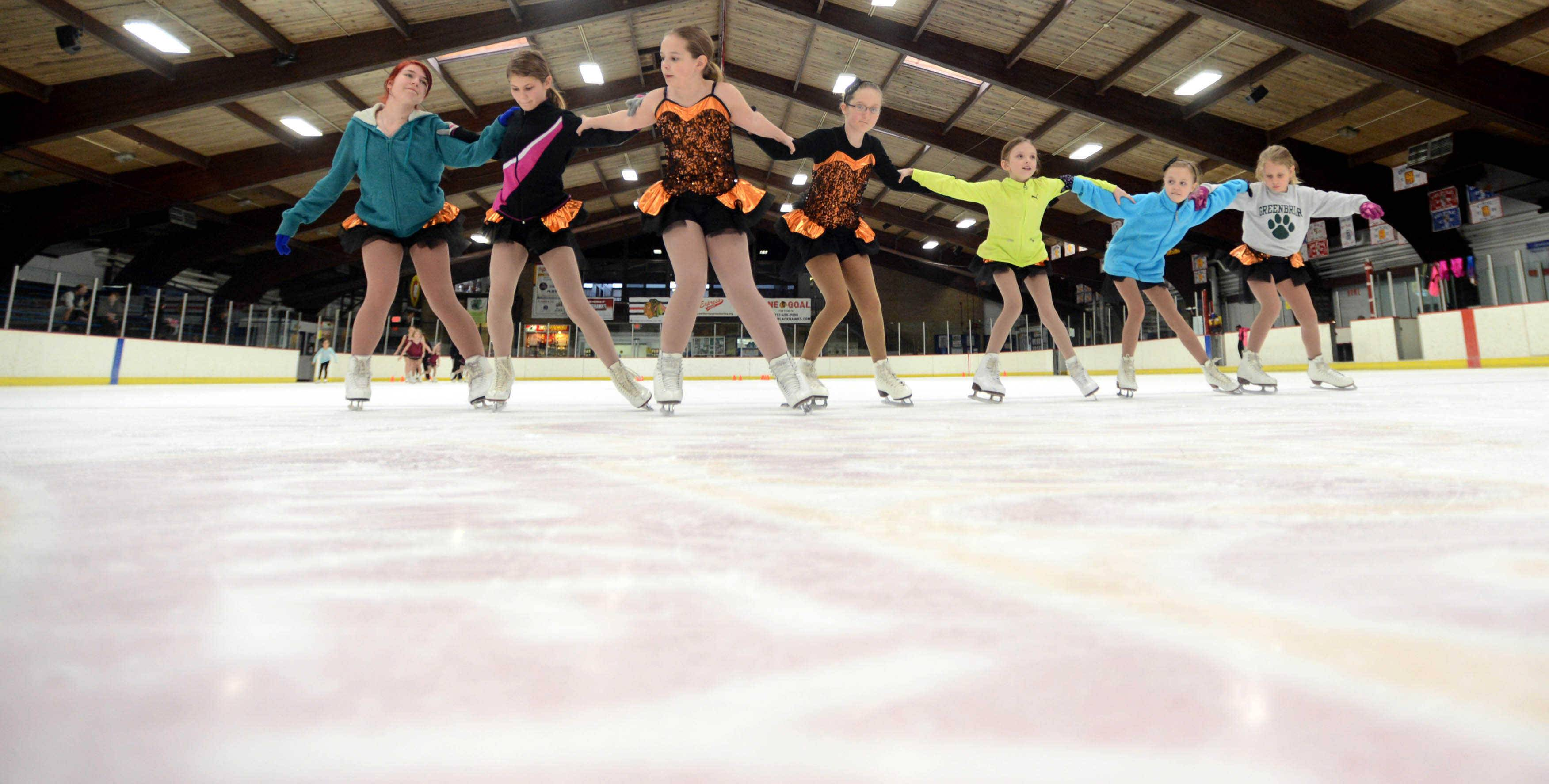 Gamma-level students participate during rehearsal at the Oakton Ice Arena for the Oakton Ice Show April 25-27.