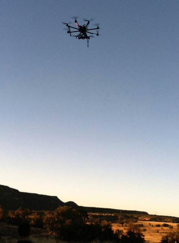 A drone at the Blue J area in northwestern New Mexico. Researchers outfitted a customized drone with a heat-sensing camera to unearth what they believe are ceremonial pits and other features at the site of an ancient village in New Mexico.