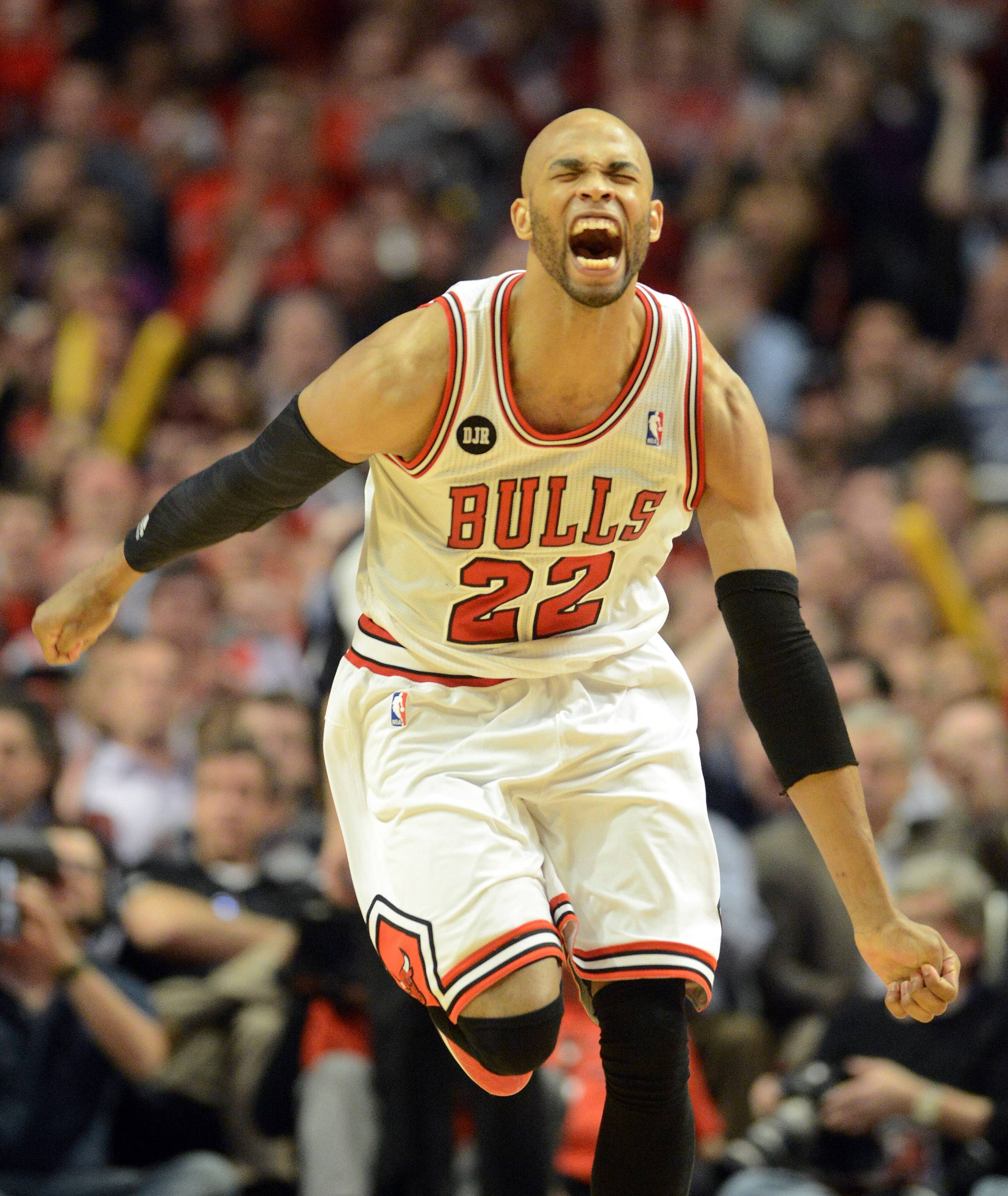 Chicago Bulls forward Taj Gibson (22) is pumped after a third-quarter basket.