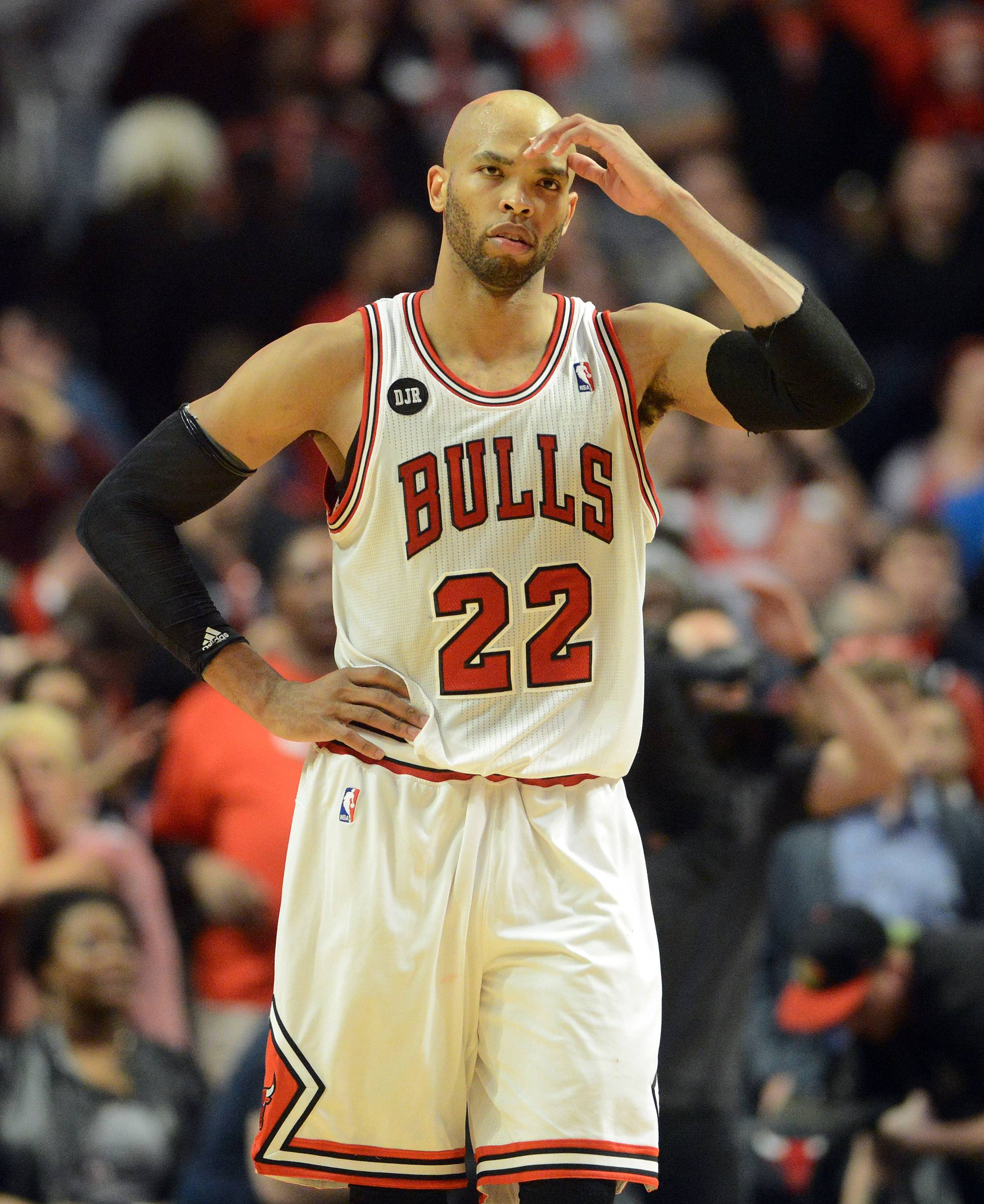 Chicago Bulls forward Taj Gibson (22) walks off the court following Tuesday's loss.