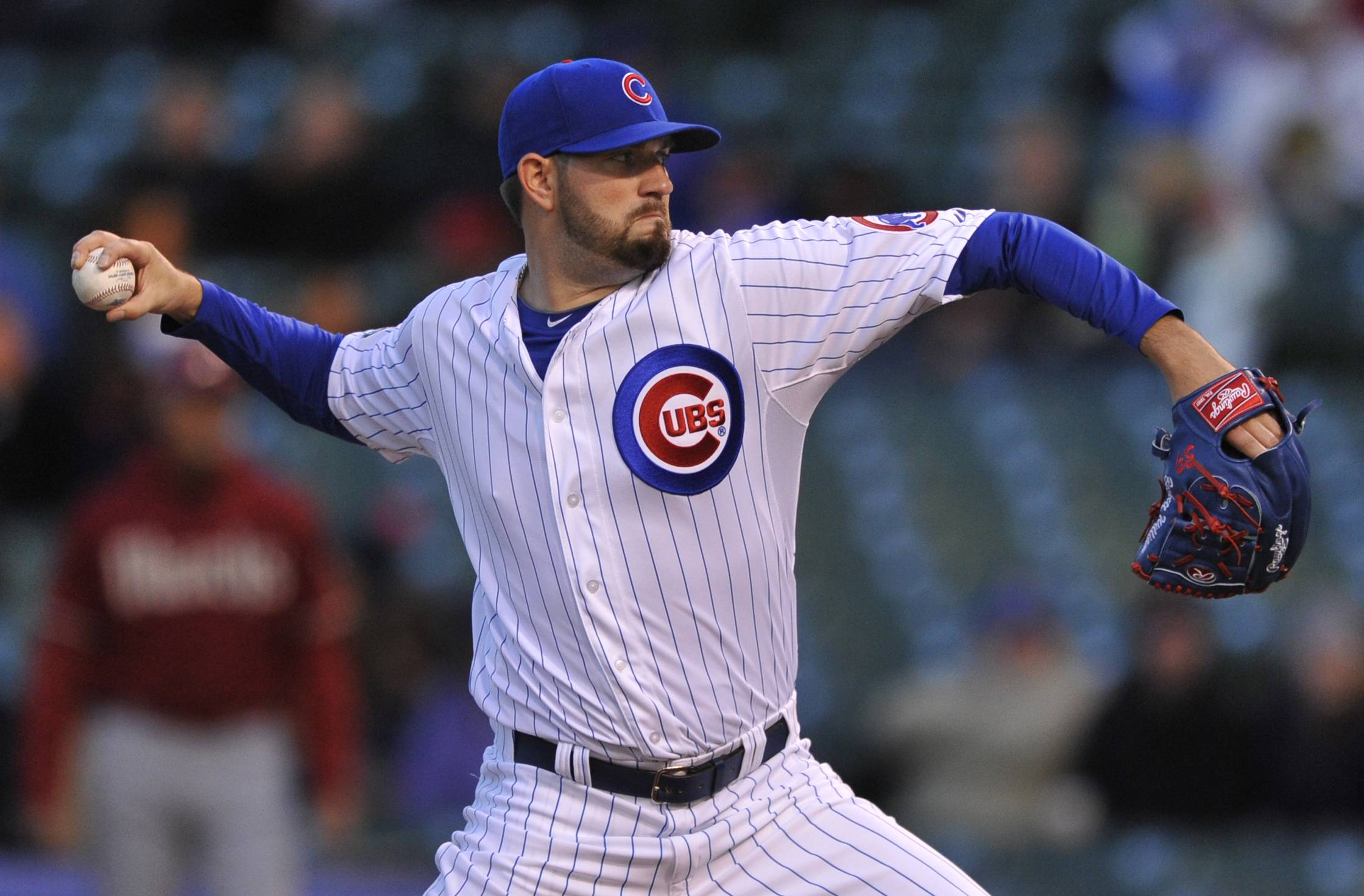 Cubs starter and winning pitcher Jason Hammel worked 7 innings and allowed 1 run on 4 hits againsts the Diamondbacks on Tuesday at Wrigley Field.
