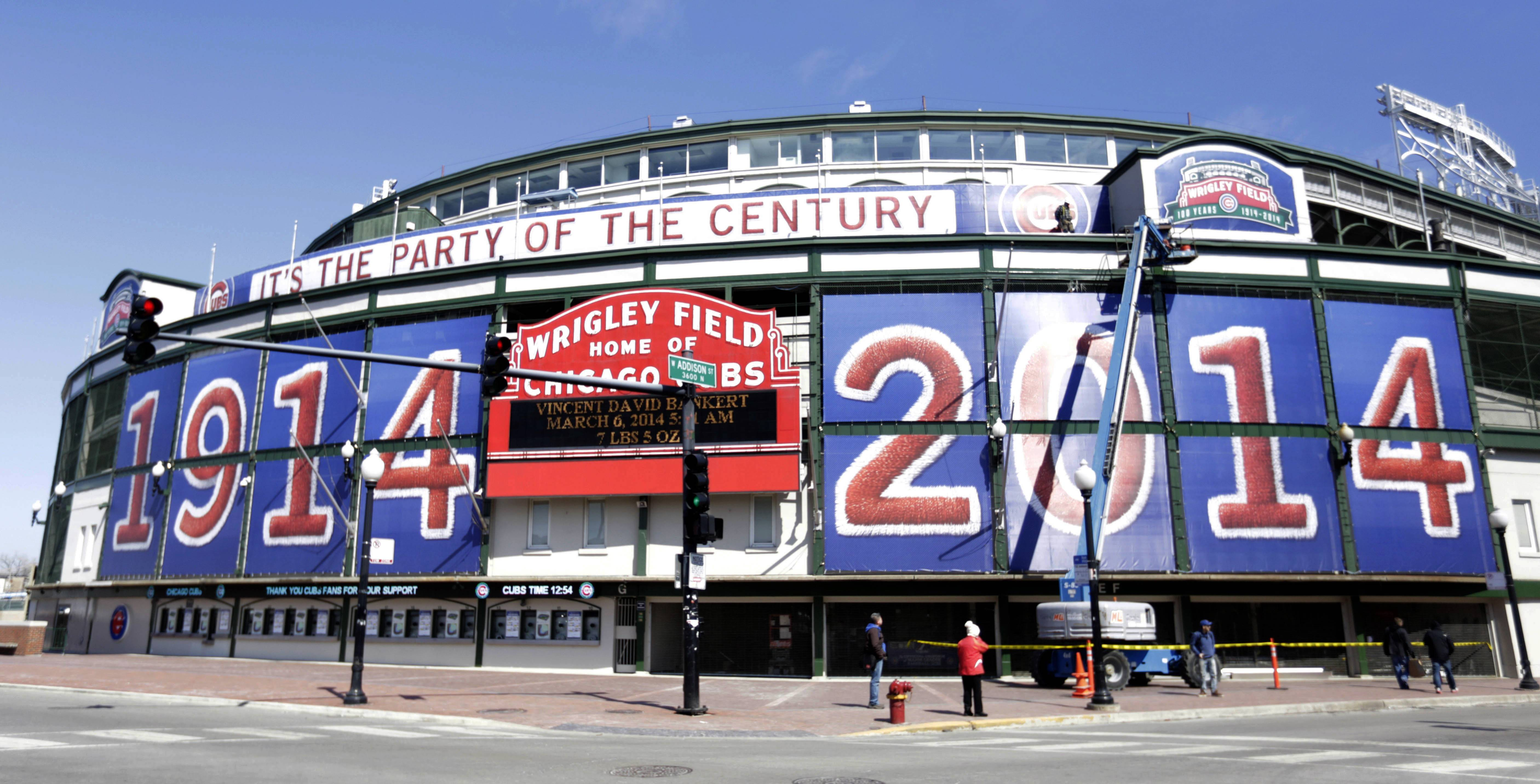 Wrigley Field sports large numerals celebrating the iconic park's 100th anniversary.